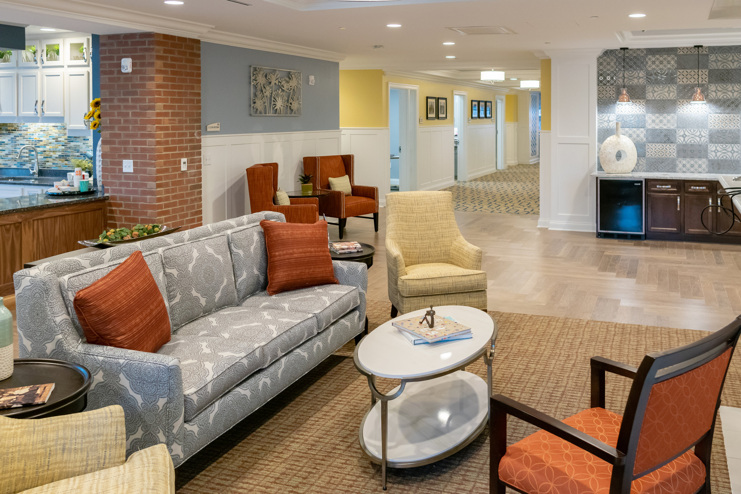 Main Lobby The Chelsea Senior Living Facility Built by March Associates Construction. We build luxury residential buildings.