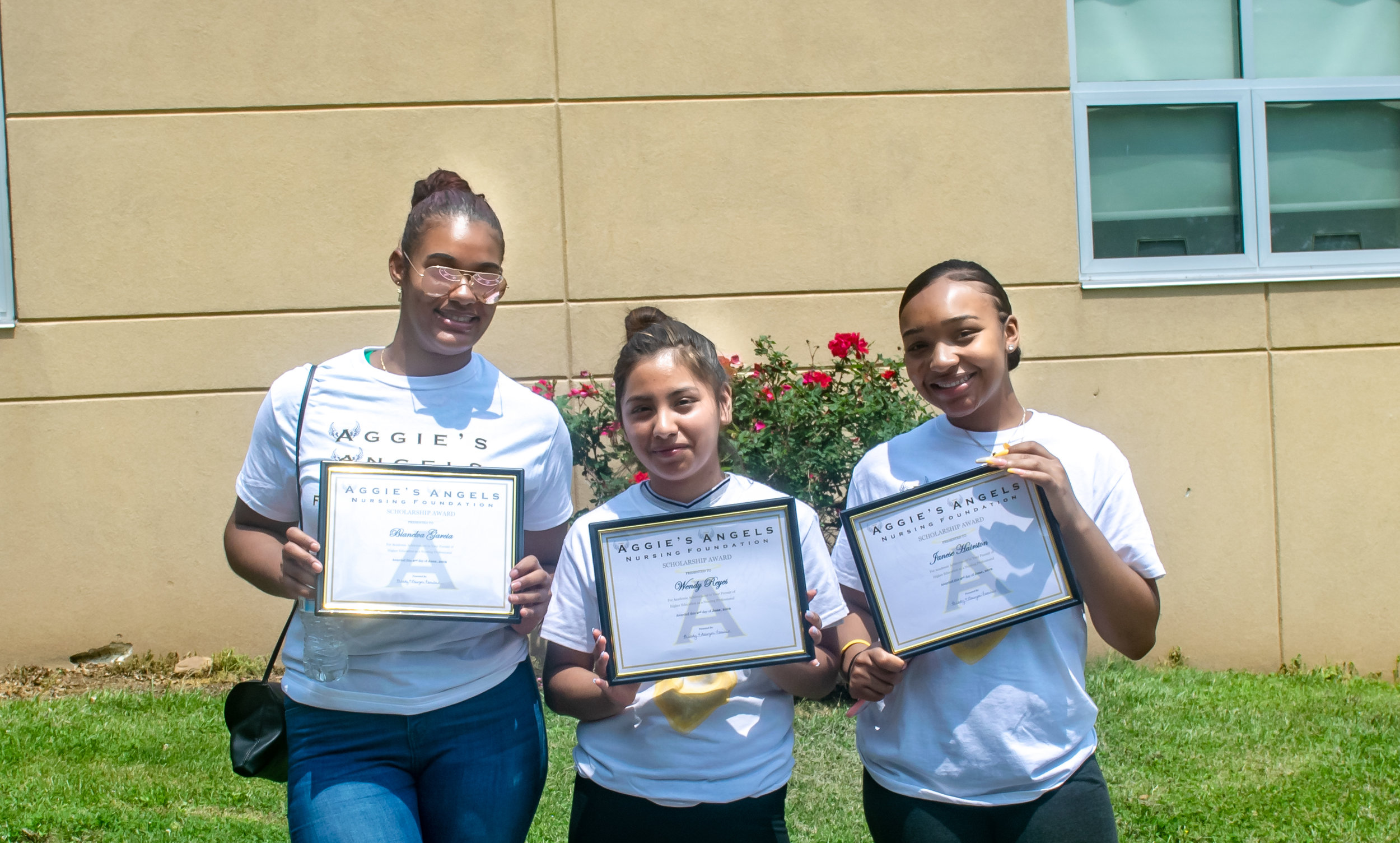 Three ambitious high school students awarded grants toward nursing school! Aggie's Angels Foundation for aspiring Nursing students Sponsored by March Construction.