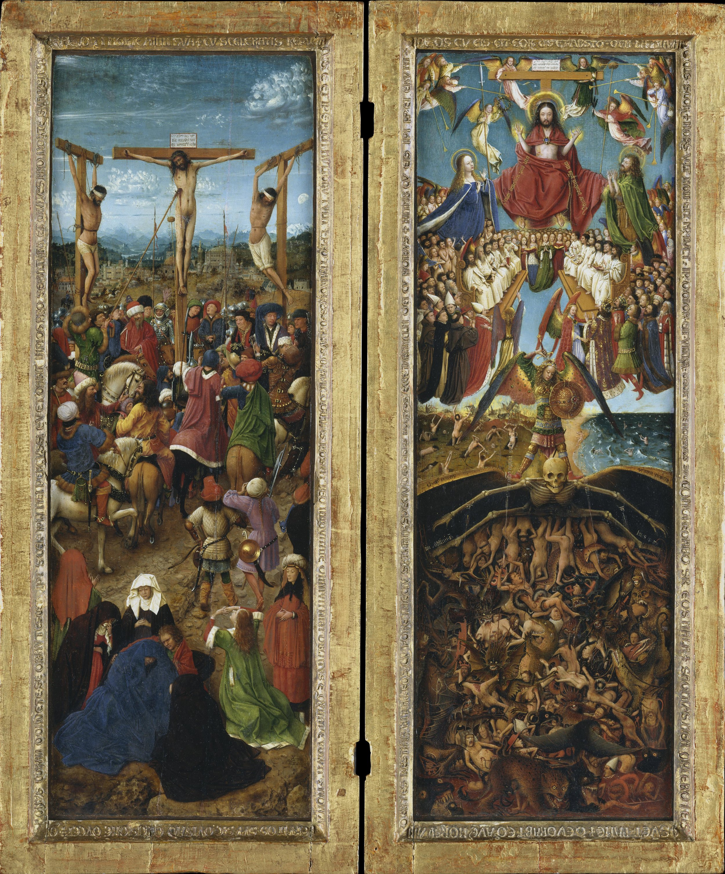 The Crucifixion; The Last Judgment.   Jan van Eyck (Netherlandish, Maaseik ca. 1390–1441 Bruges) and Workshop Assistant