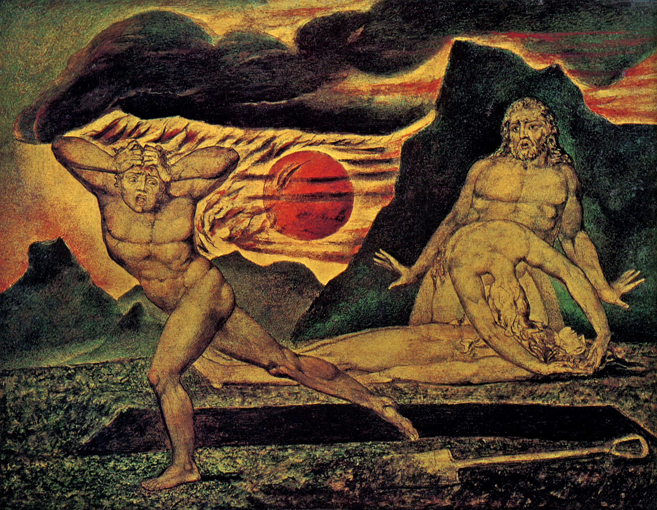 The Body of Abel Found by Adam and Eve  . William Blake, 1826.