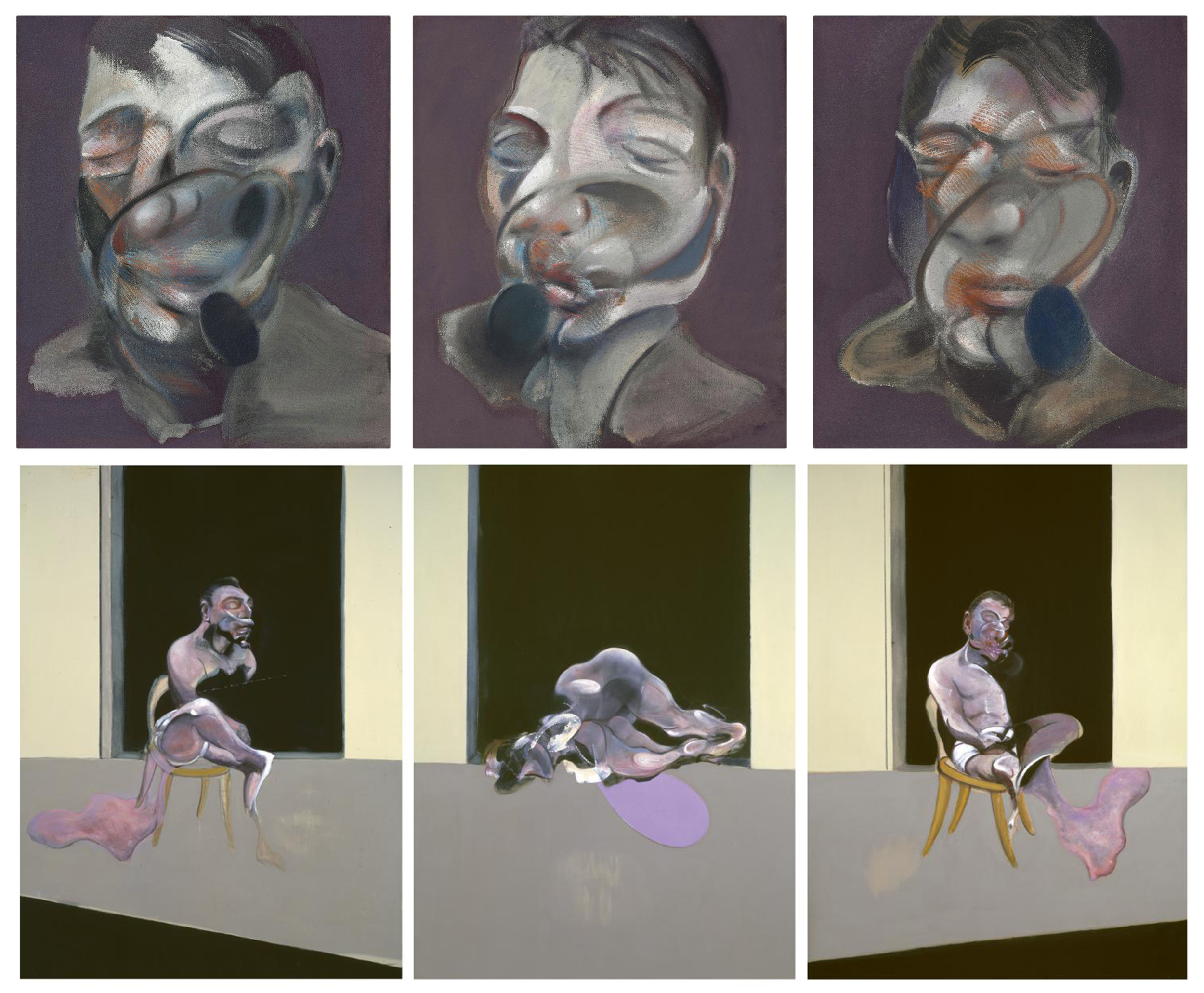 TOP:   Three Studies for Self Portrait  . Francis Bacon, 1974. BOTTOM:   Triptych, August 1972  . Francis Bacon, 1972.