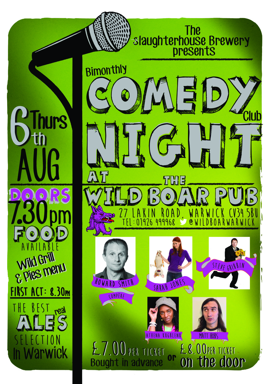 comedy night at the wild boar 6th Aug