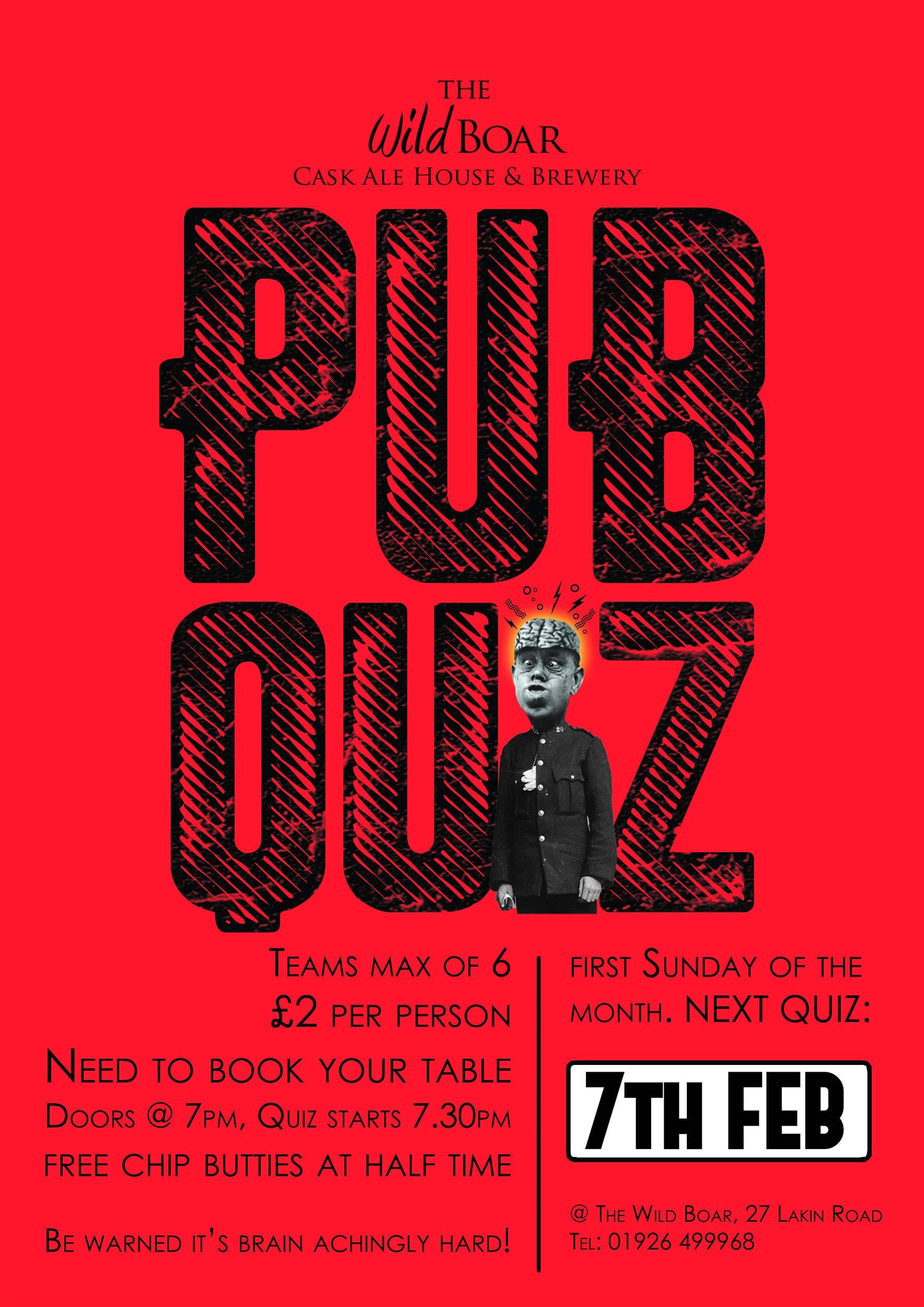 Wild Boar Pub Quiz 7th Feb