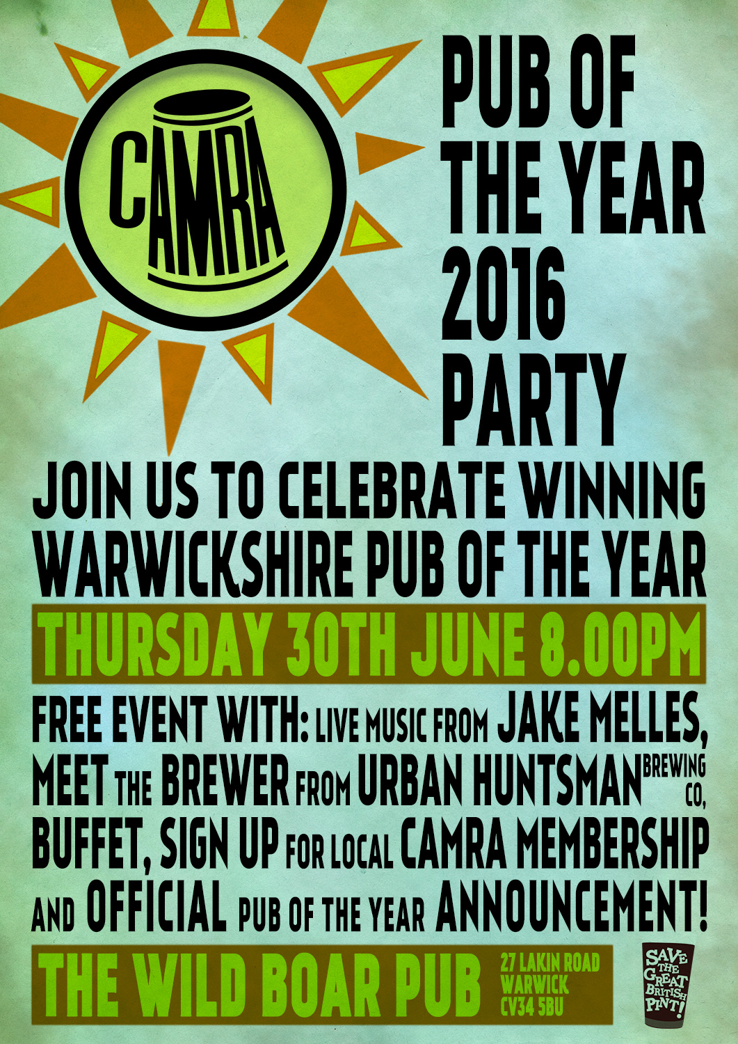 pub of the year Warwickshire 2016 poster