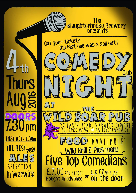 Comedy Night poster at the Wild Boar Pub
