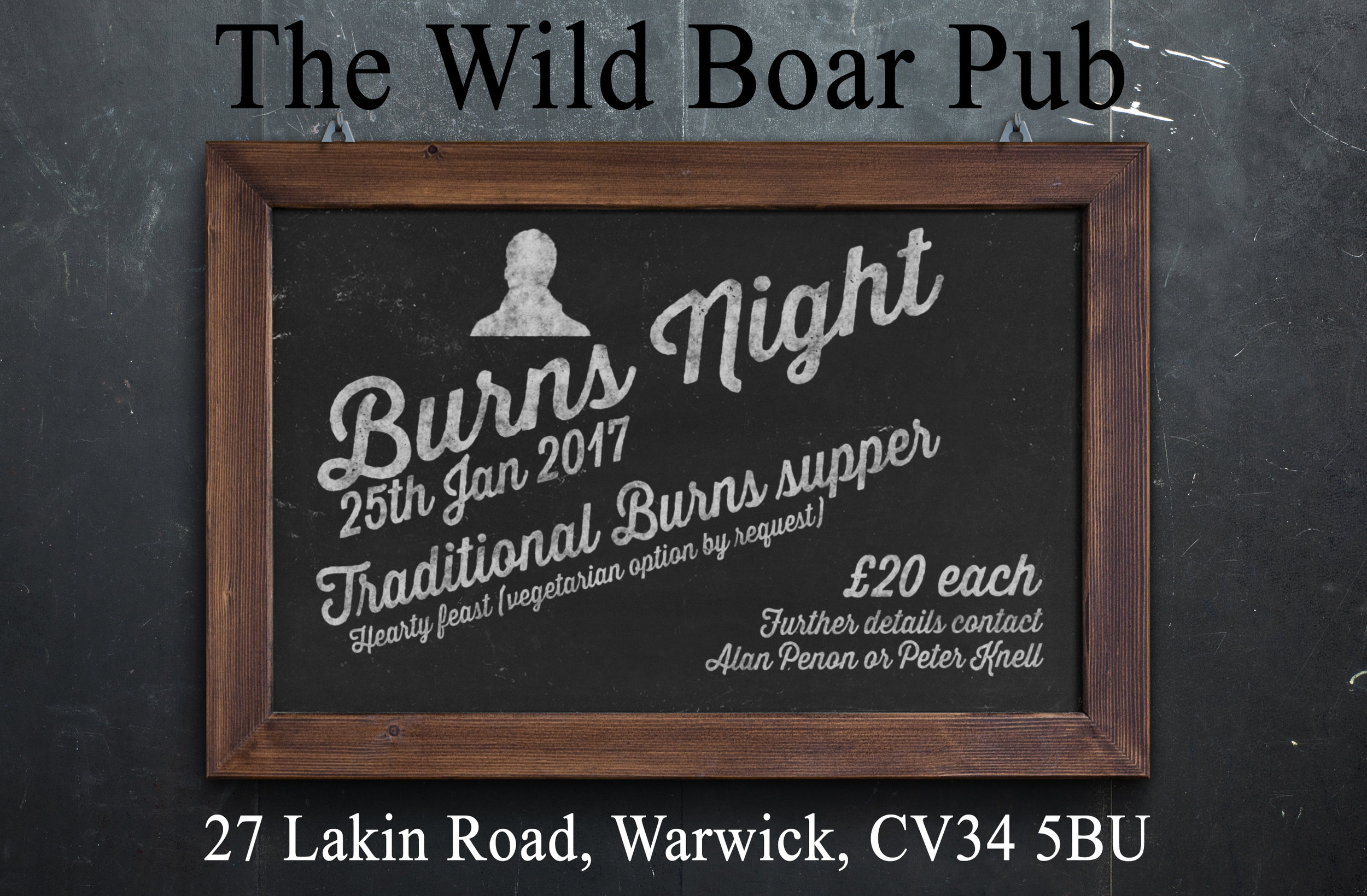 burns night at the wild boar pub