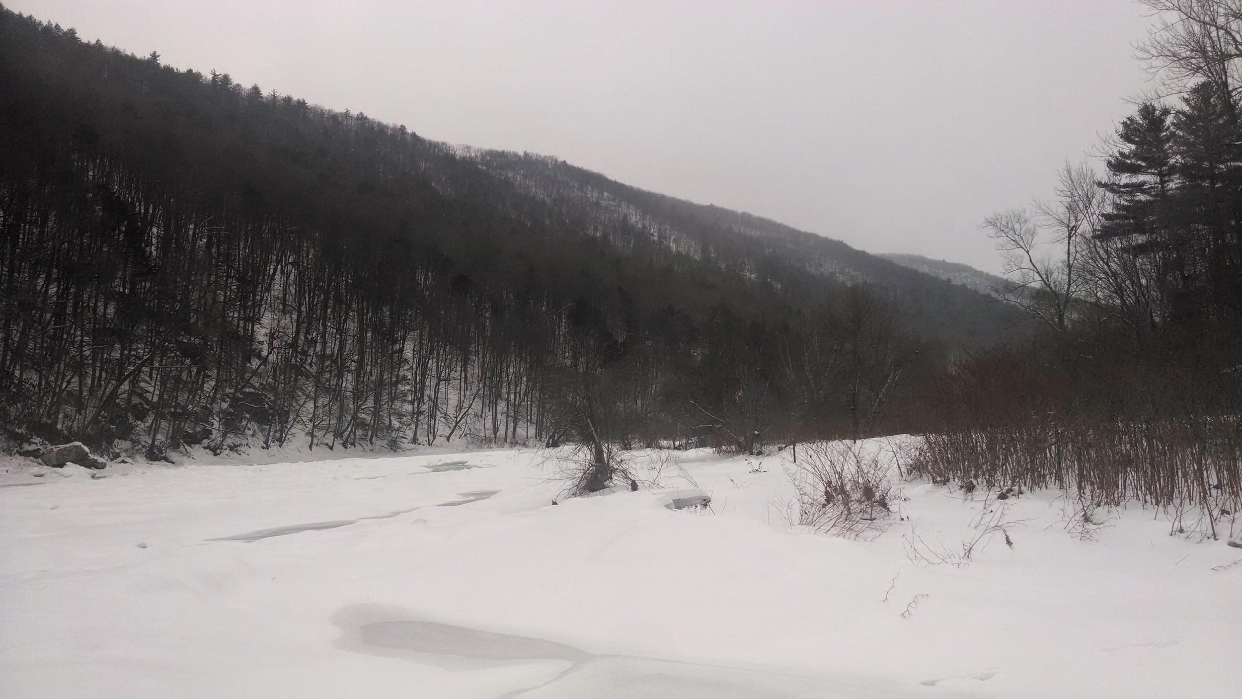 Ramsey Village access area 2-8-14. Pine Creek frozen over.