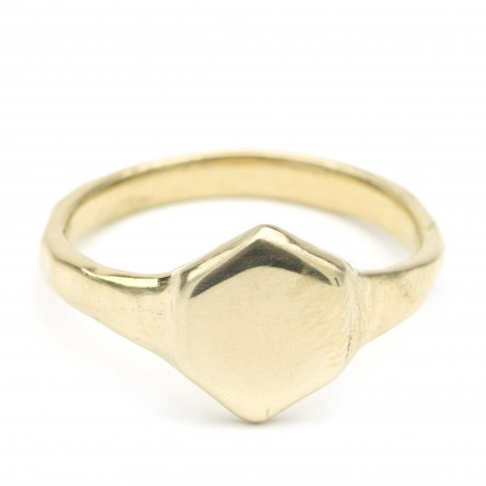 Recycled Brass Hex Signet | Odette | Vintage & Ethical Signet Rings | Keeper & Co. Blog