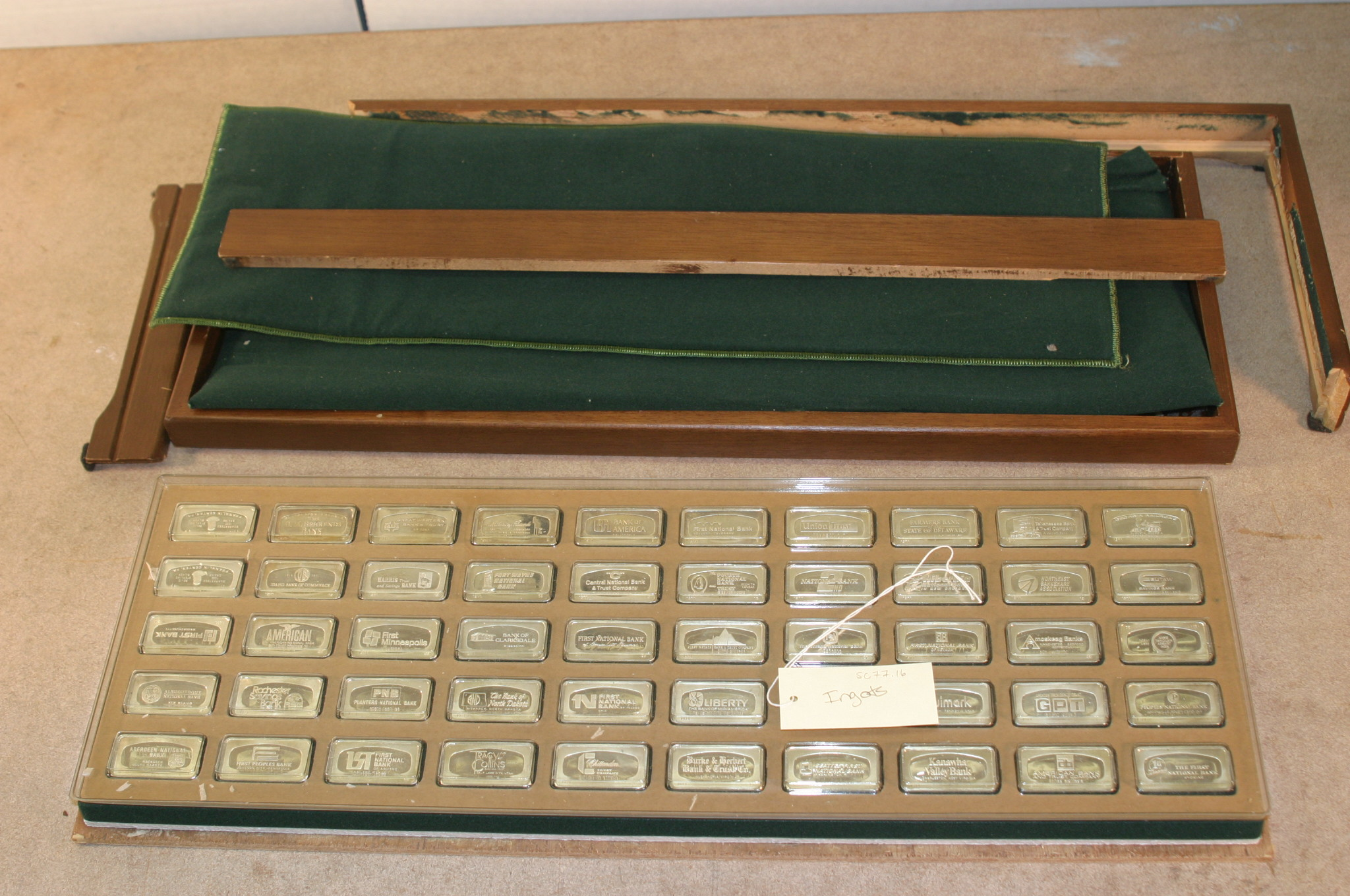 "Set of reproduction ingots, 1971, Franklin Mint, Pennsylvania.  These were part of the ""SC"" collection and were deaccessioned and sold with the proceeds going to the Scottish Rite Masonic Museum & Library's acquisitions fund."