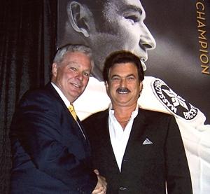 Ken Hodge, former Boston Bruins Stanley Cup Alum and Peter Leavitt, President of Eastern Advertising