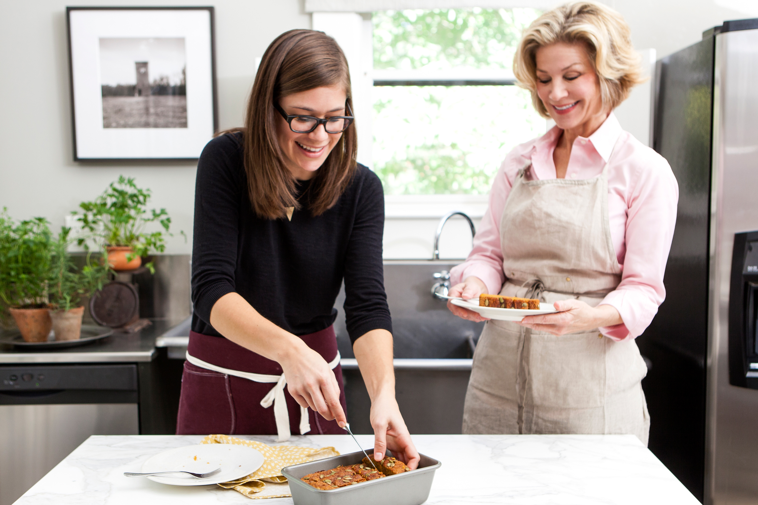 Barbara Westbrook in the kitchen with Audrey Gatliff of Tiny Buffalo