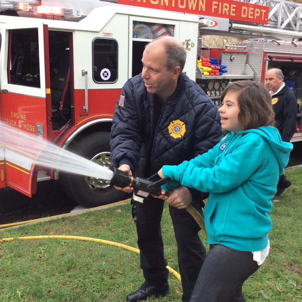 The kids get a lesson in firefighting