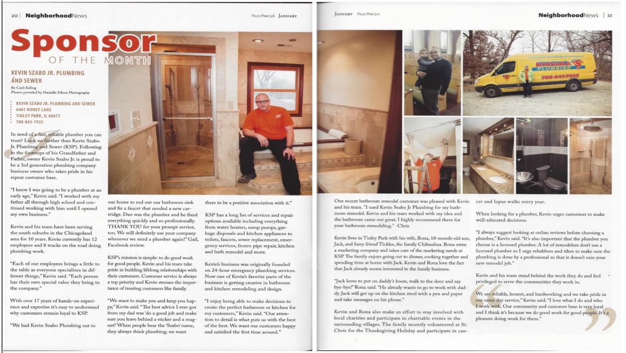 Kevin Szabo Jr Plumbing Palos Park Magazine