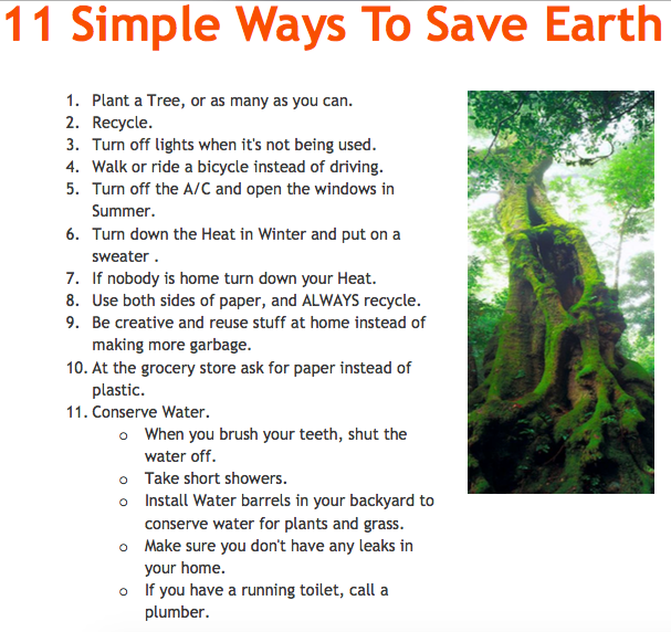 11 Ways to save earth