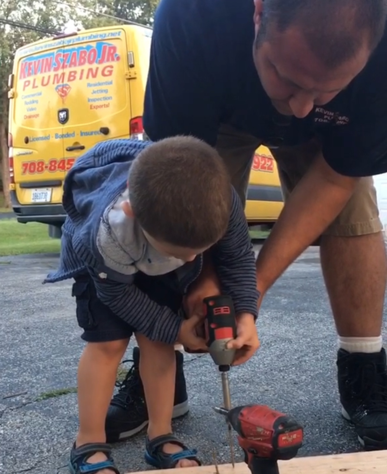 Orland Park Plumber and son work on home maintenance