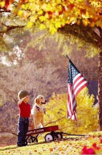 Kid and Dog Solute the American Flag.jpg