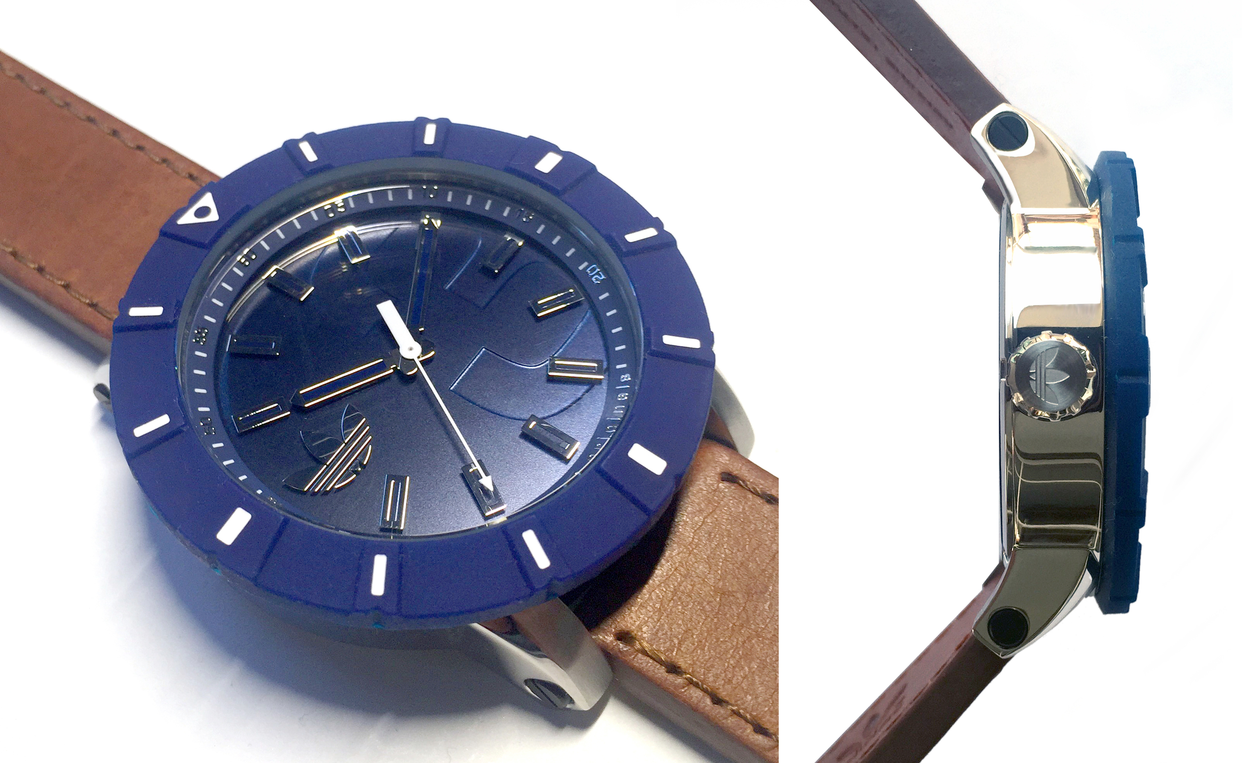 """Dial with """"floating"""" indexes"""" The metallic numbers on the tracking, the floating indexes, the tonal debossed 3, and the lug screws were all meant to be secondary reads to the overall watch design."""