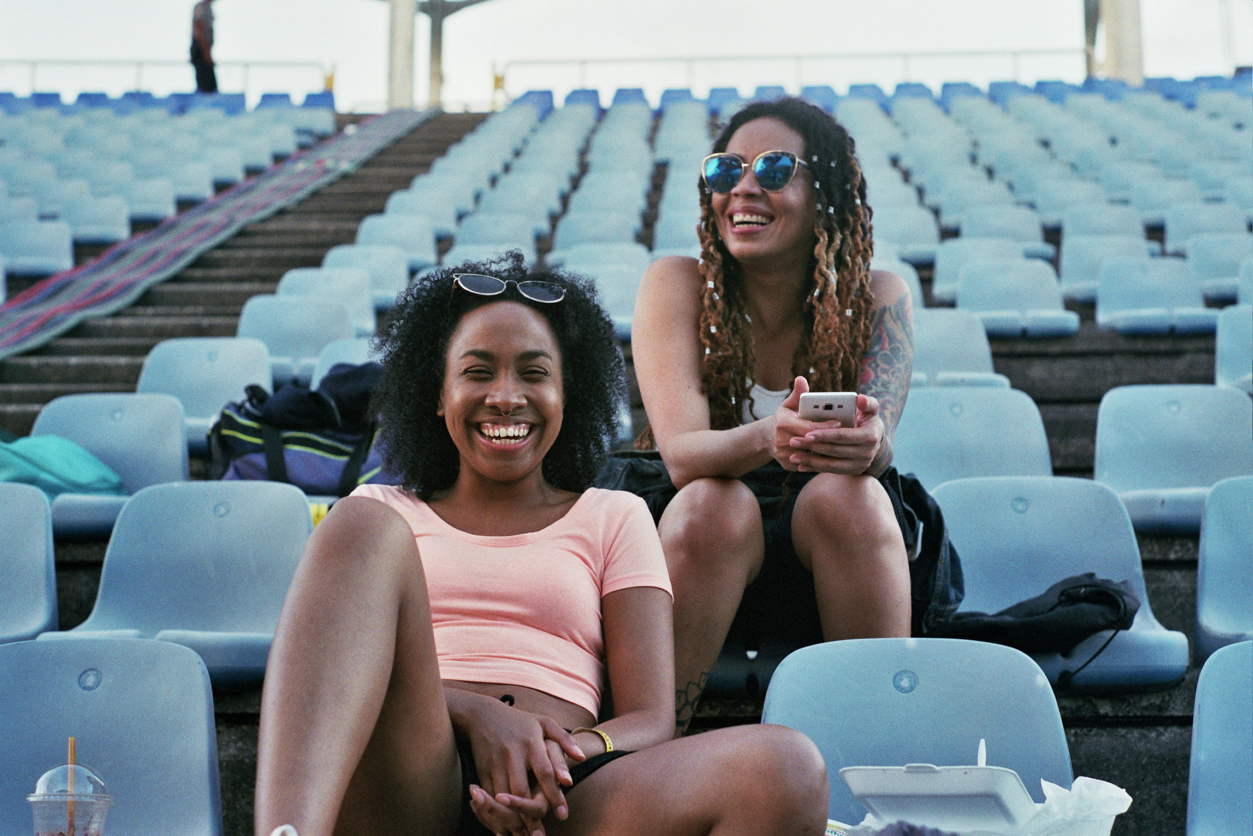 Arielle and Rhea waiting for rehearsal for Machel Montano's Machel Monday to begin.