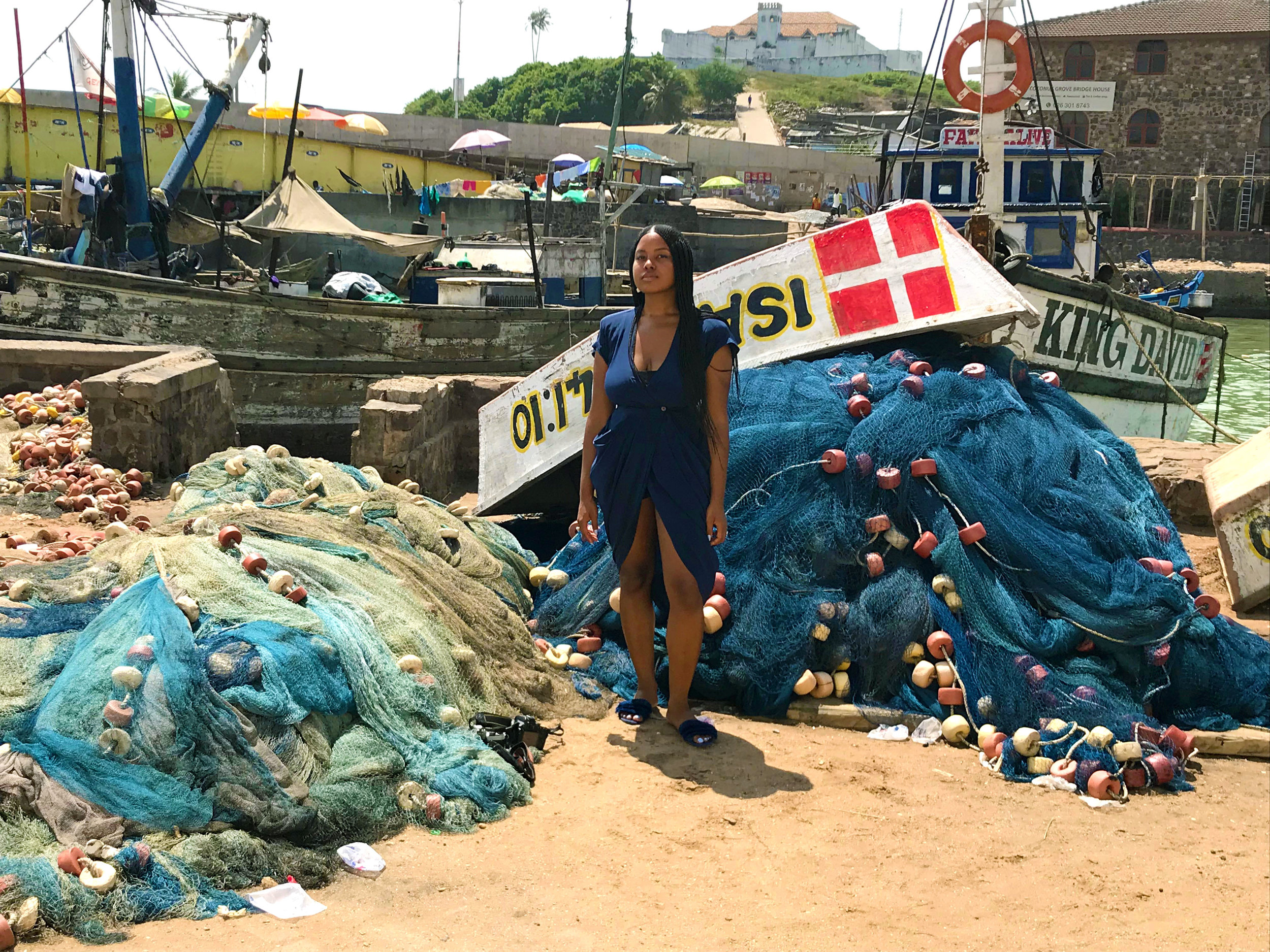 Located on the coast, Elmina is a fishing town. These clusters of boats and nets are the livelihood of many.