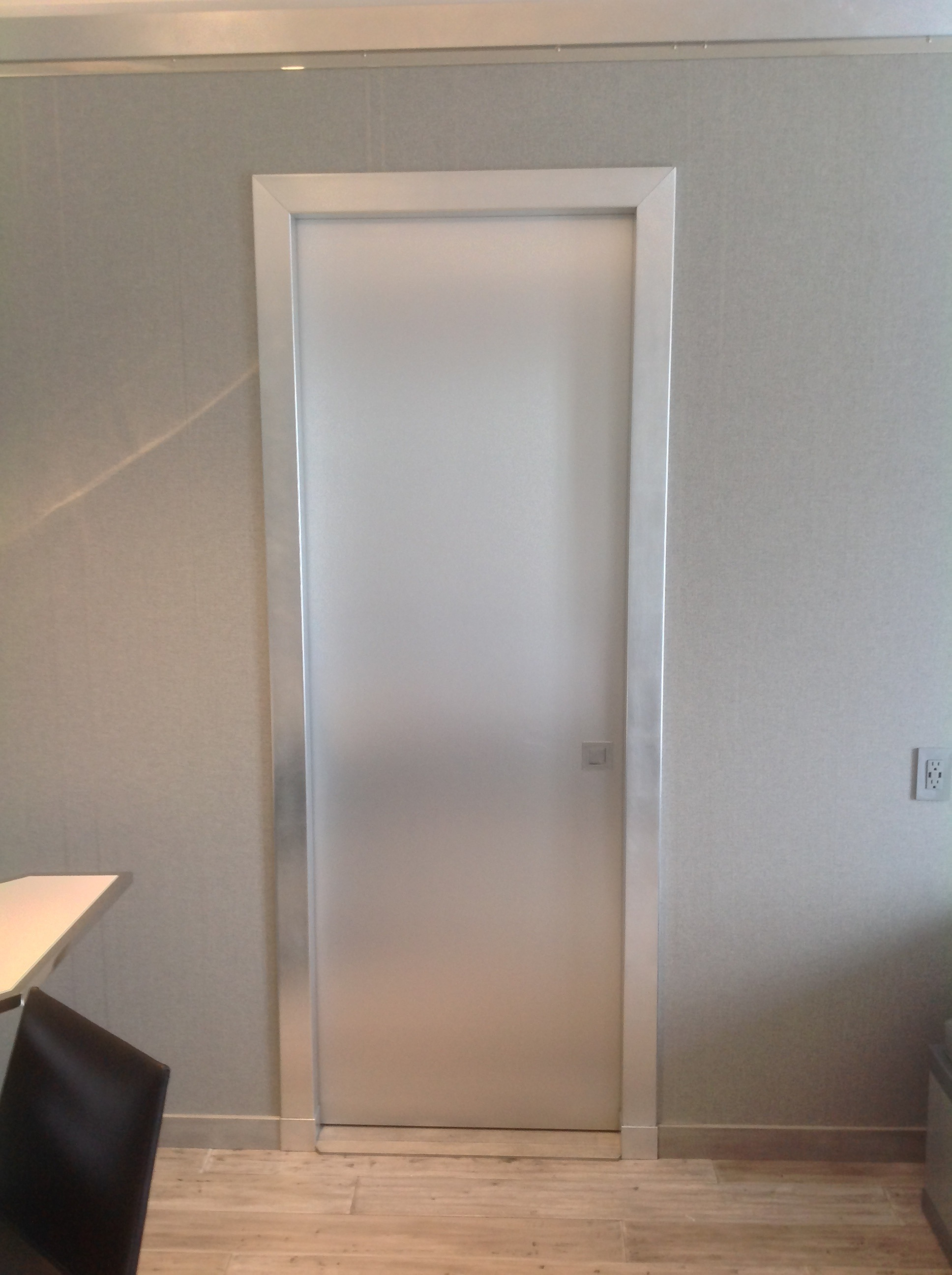 stainless steel clad pocket door in a silver leaf casing