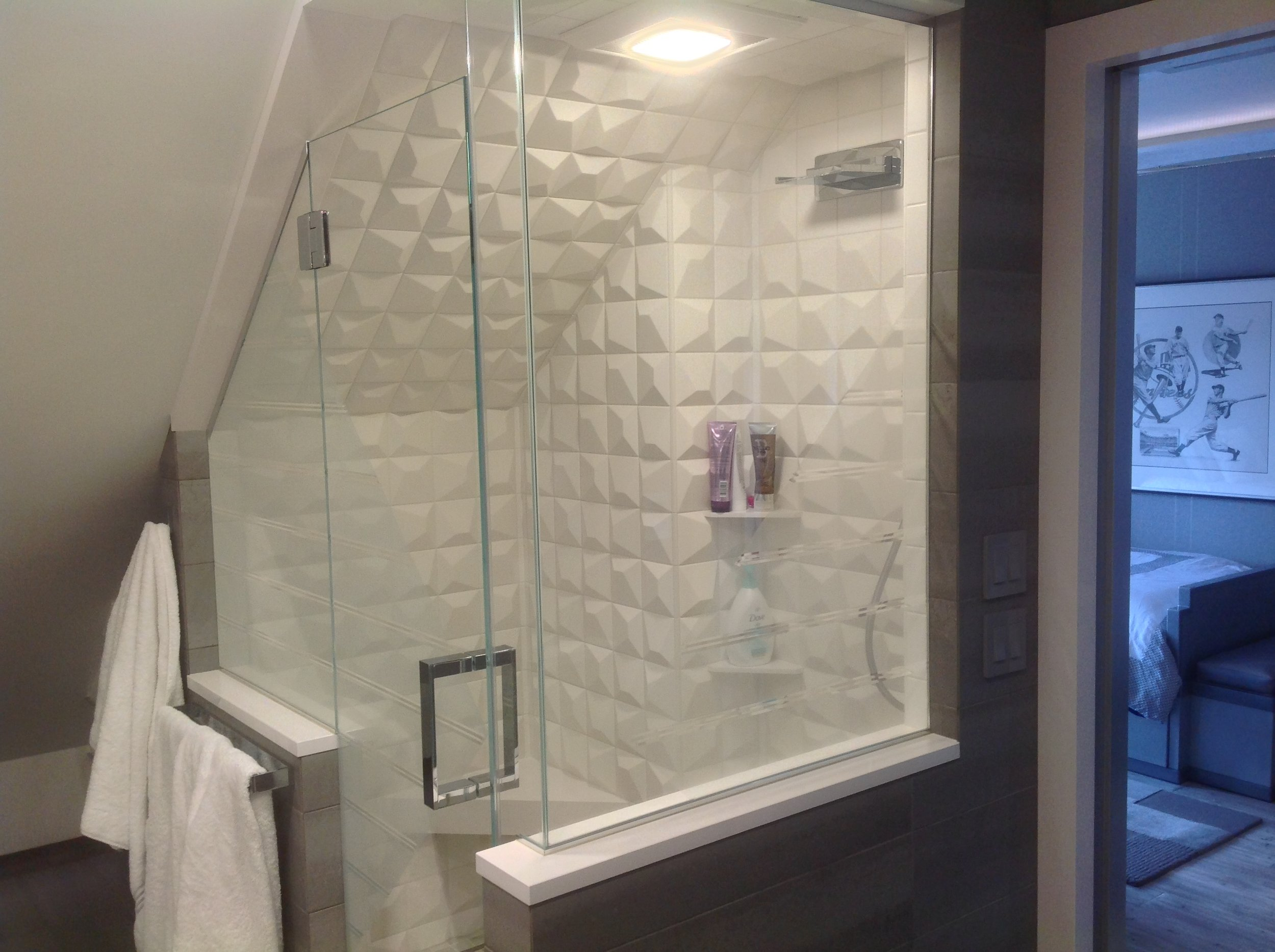Pillow tile shower
