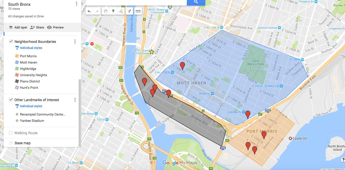 South Bronx Tour Map