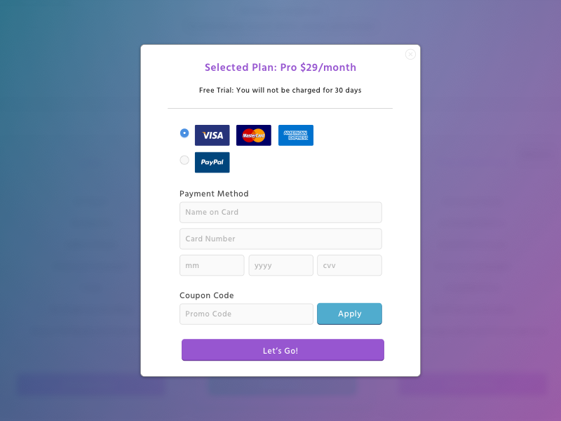 Payment modal. Uniting the CTA header text with CTA button with a fabulous purple.