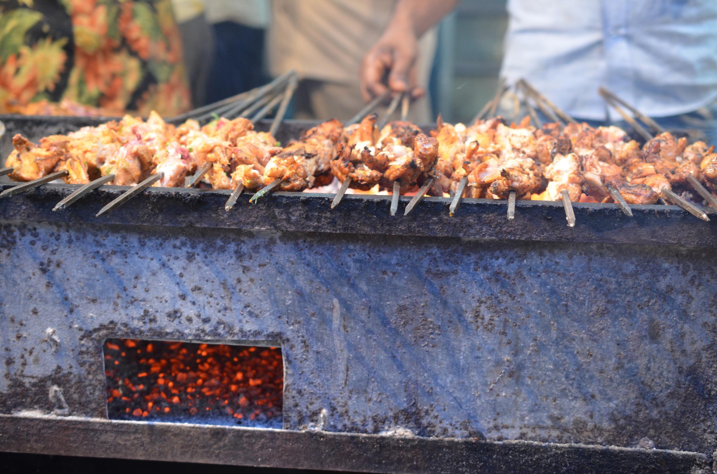 Chicken kebabs (Old Delhi, India)