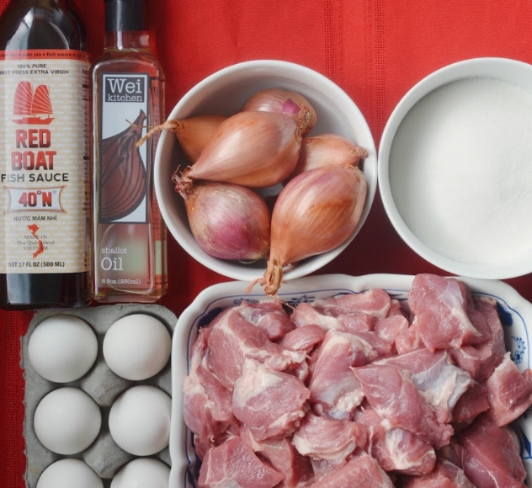 Ingredients for easy traditional Vietnamese Recipe of Caramel Pork Stew with Shallot Oil