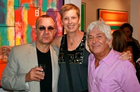 Bernie Taupin, Brenda Hutchison and Ian 'Mac' McLagan at Taupin's art show in Austin.
