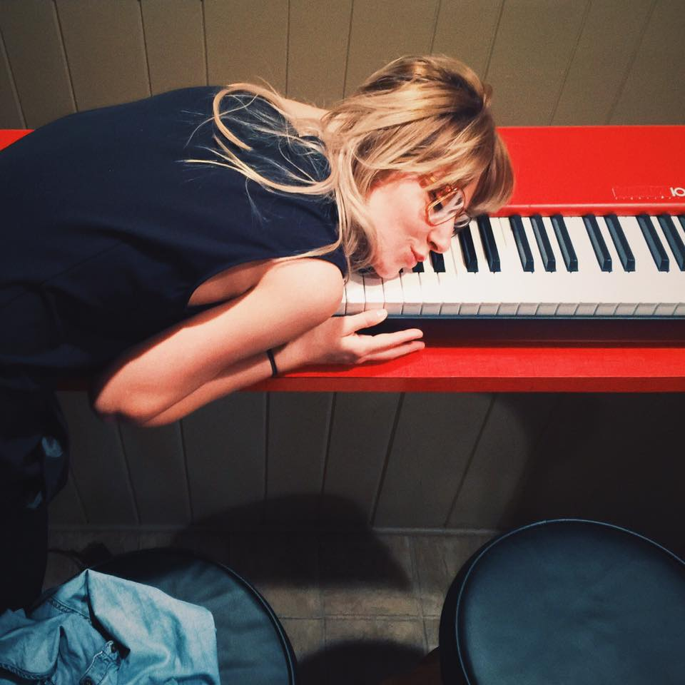 Pip the Pansy (Jon Notarthomas's niece) after she bought Ian 'Mac' McLagan's keyboard.