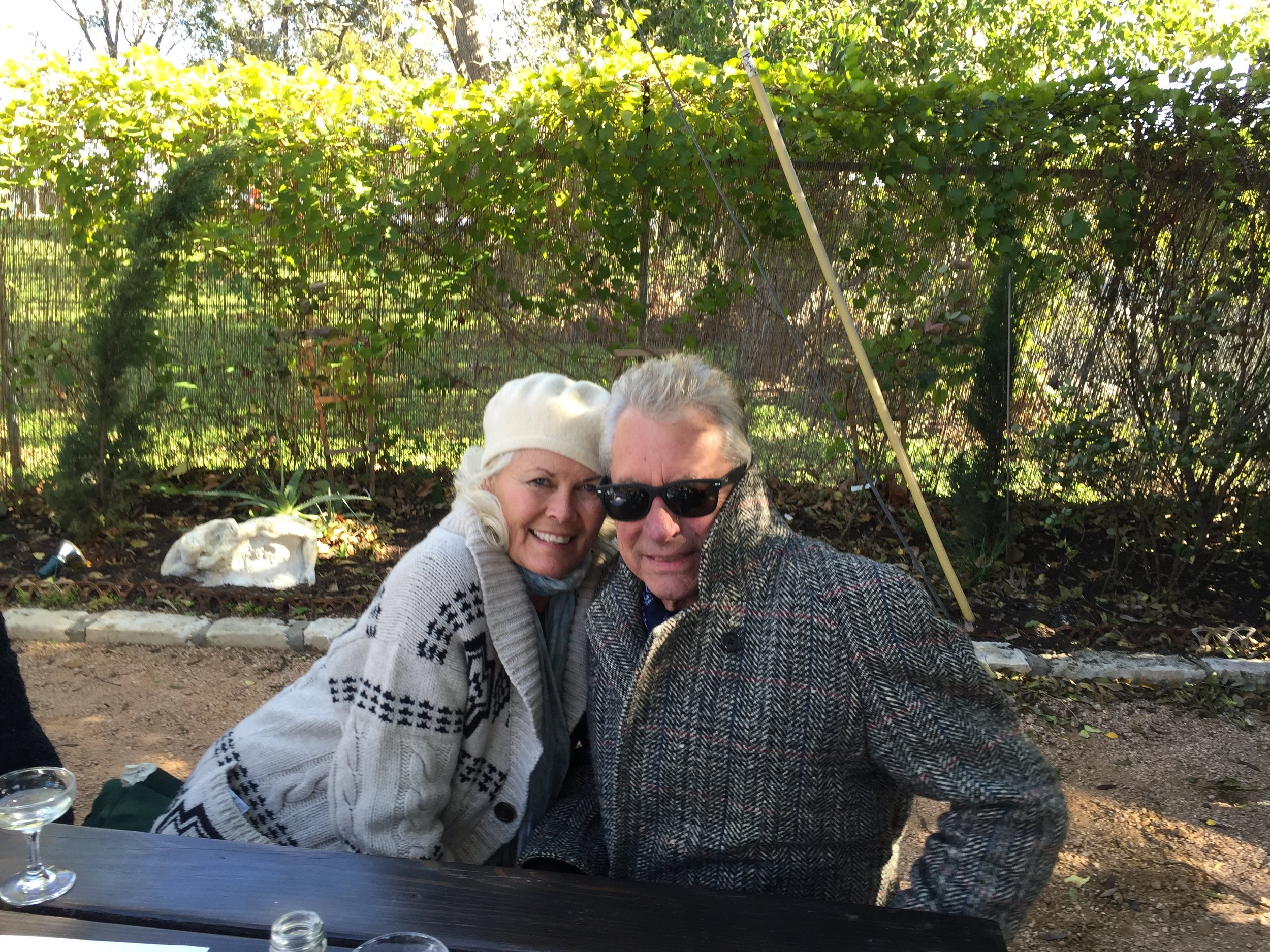 Sharon and Joe Ely in the garden at Justine's in Austin.