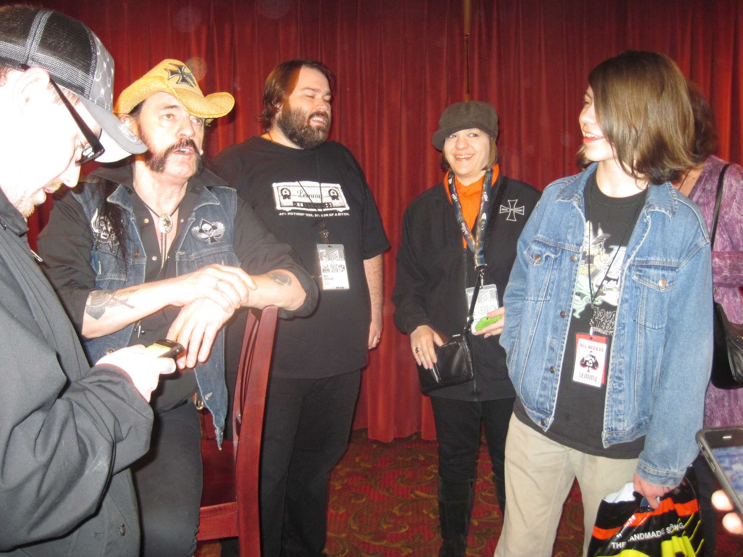 Backstage after the Lemmy film premiere.