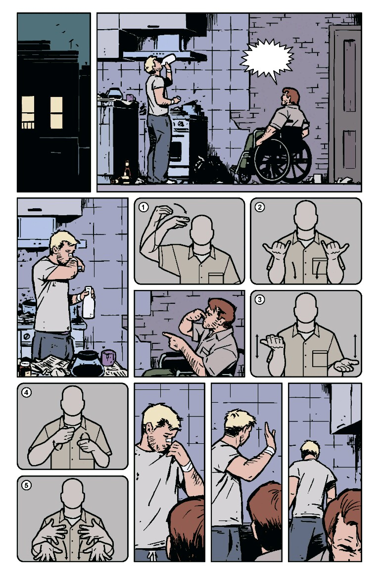 (Hawkeye using ASL in a comicbook)