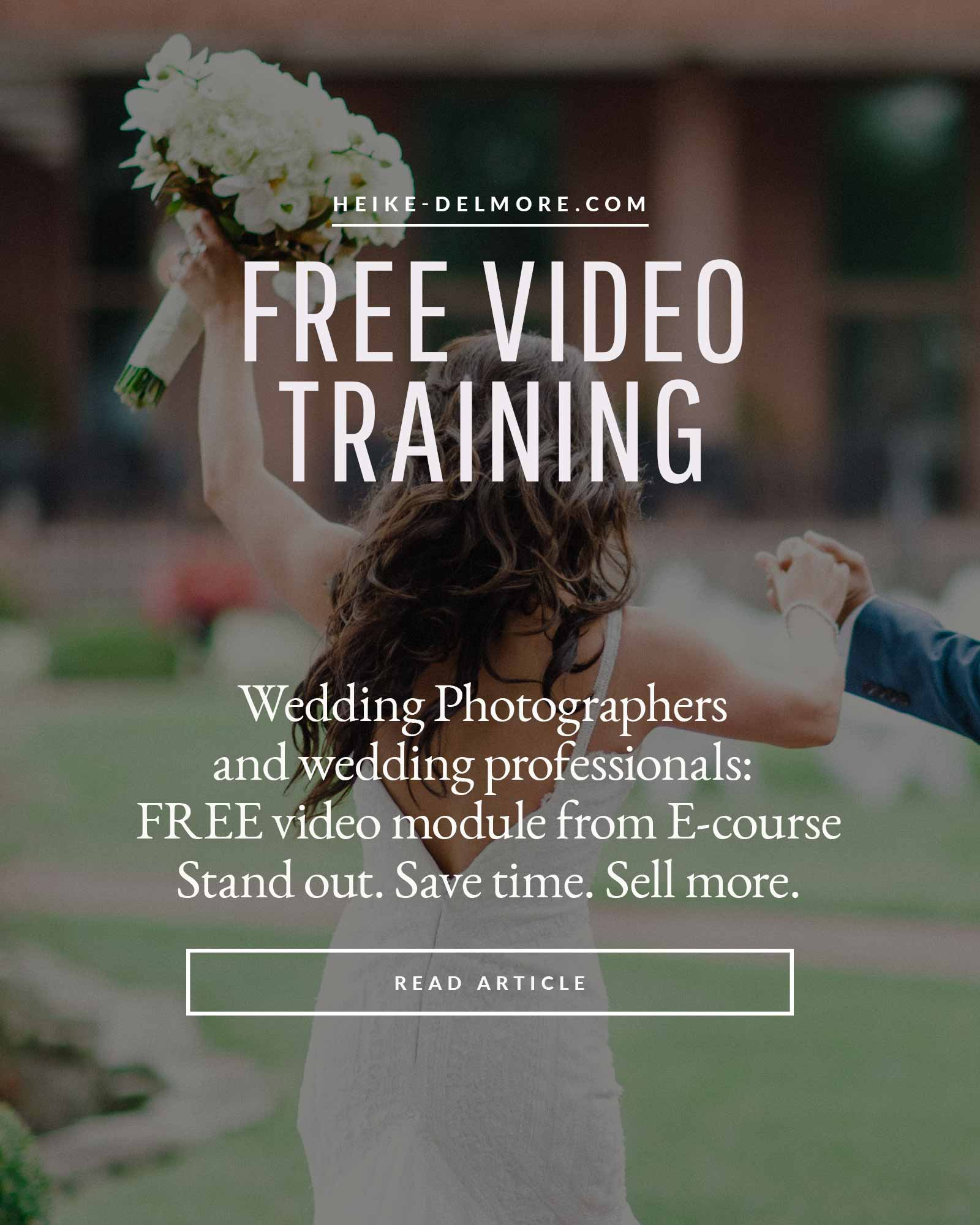 Free video training successful wedding photography business with Heike Delmore