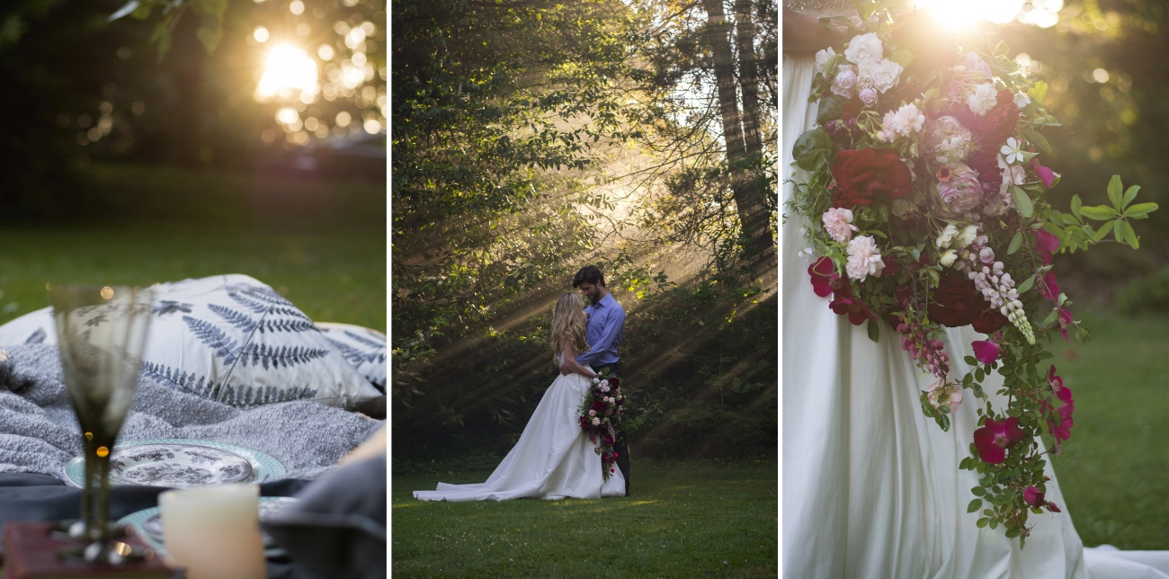 A beautiful wedding photography shoot with smoke flares to show off the beautiful light of the afternoon.
