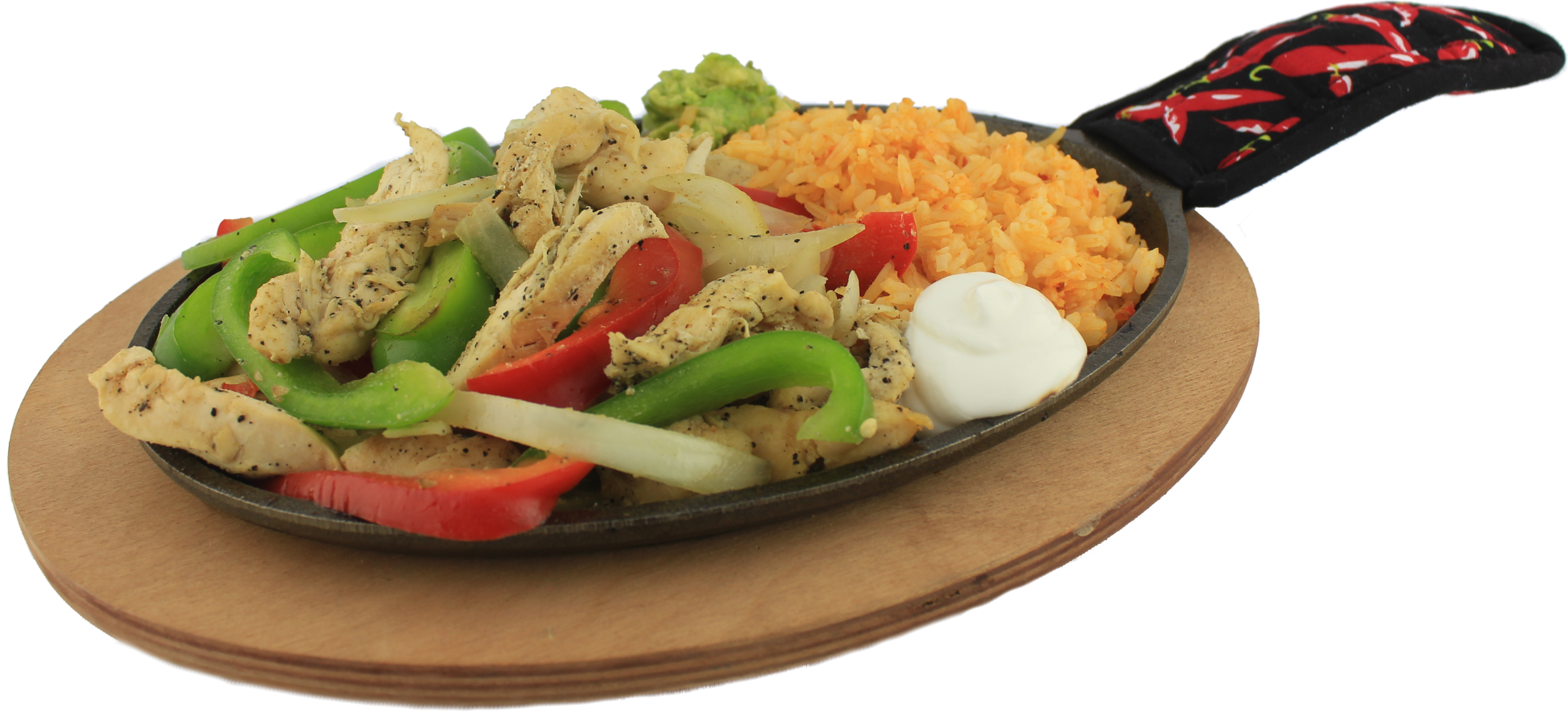 Sizzling Fajitas  Choice of chicken, steak or shrimp, with fresh fajita veggies, guacamole and sour cream. Served with a side of rice and tortillas. Chicken $16.99 - Steak $17.99  Shrimp $18.99 - Mix $19.99