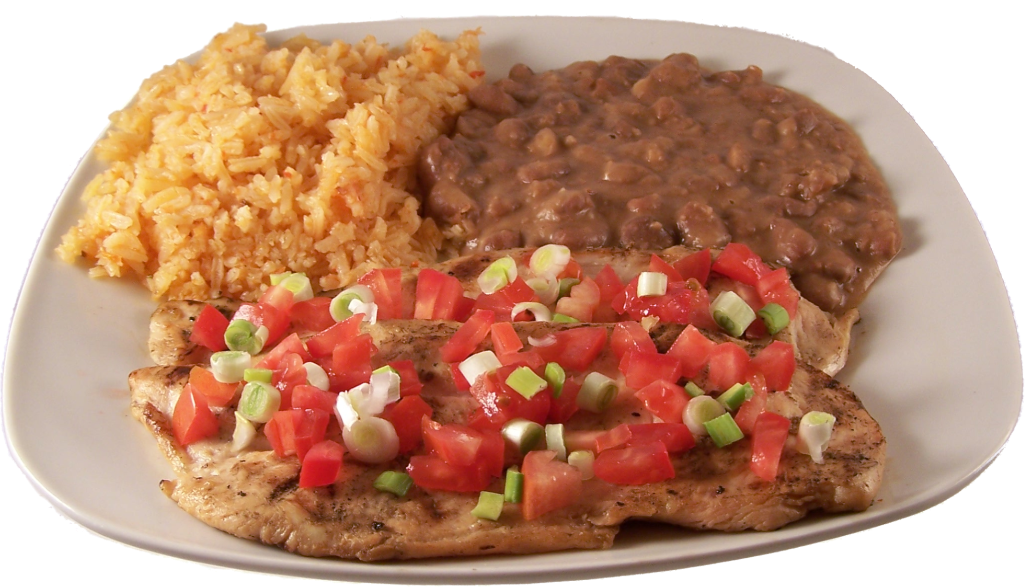 Tequila Lime Chicken  Grilled boneless chicken breast marinated in lime and tequila flavors, topped with fresh pico de gallo. $18.99