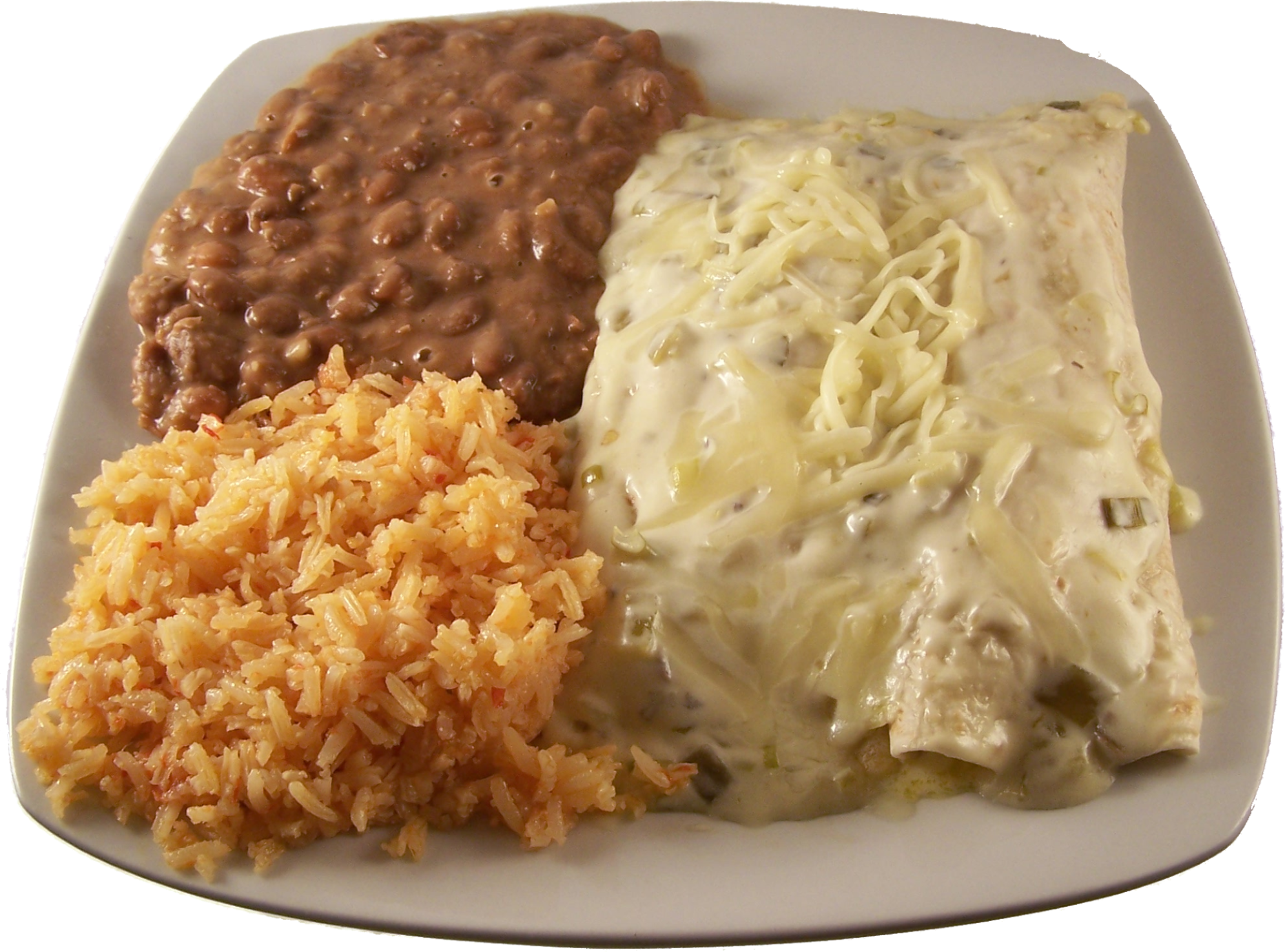 Enchiladas Suizas Two flour tortilla chicken enchiladas topped with our special suiza sauce and cheese. Served with your choice of two sides $16.99