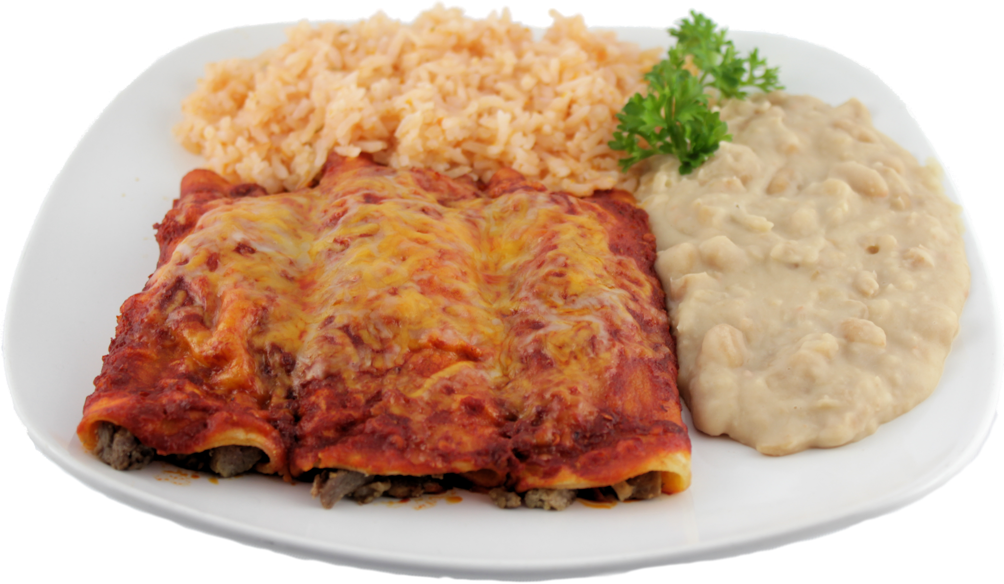 Enchilada Platter Three red or green enchiladas served with two sides and your choice of: Cheese, Beef, Chicken, Carne Asada, or Shrimp $15.99 Mix and Match $16.99
