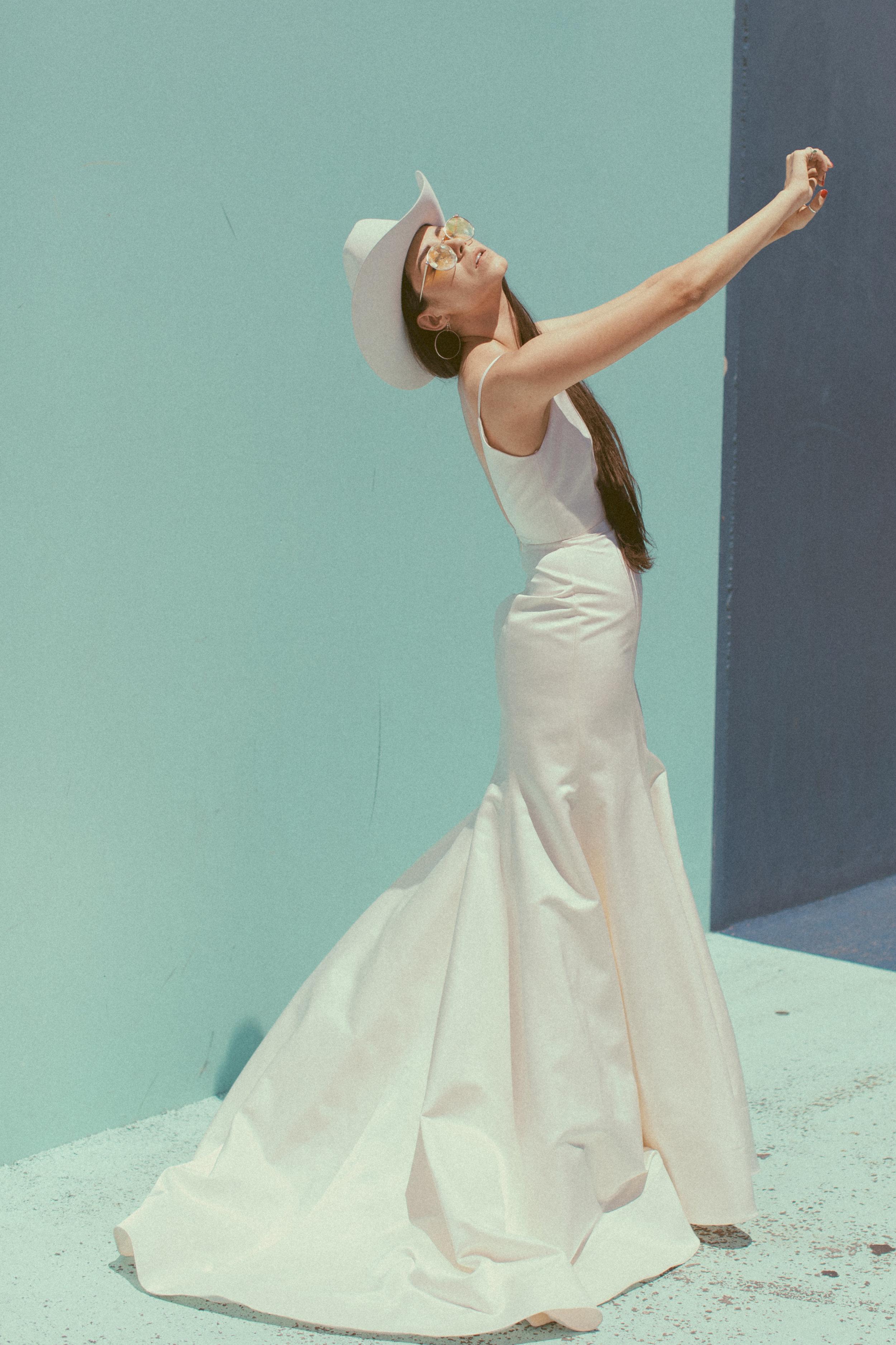 Kacey by Chantel Lauren silk satin trumpet fit and flare wedding gown modern western boho cowboy hat stetson