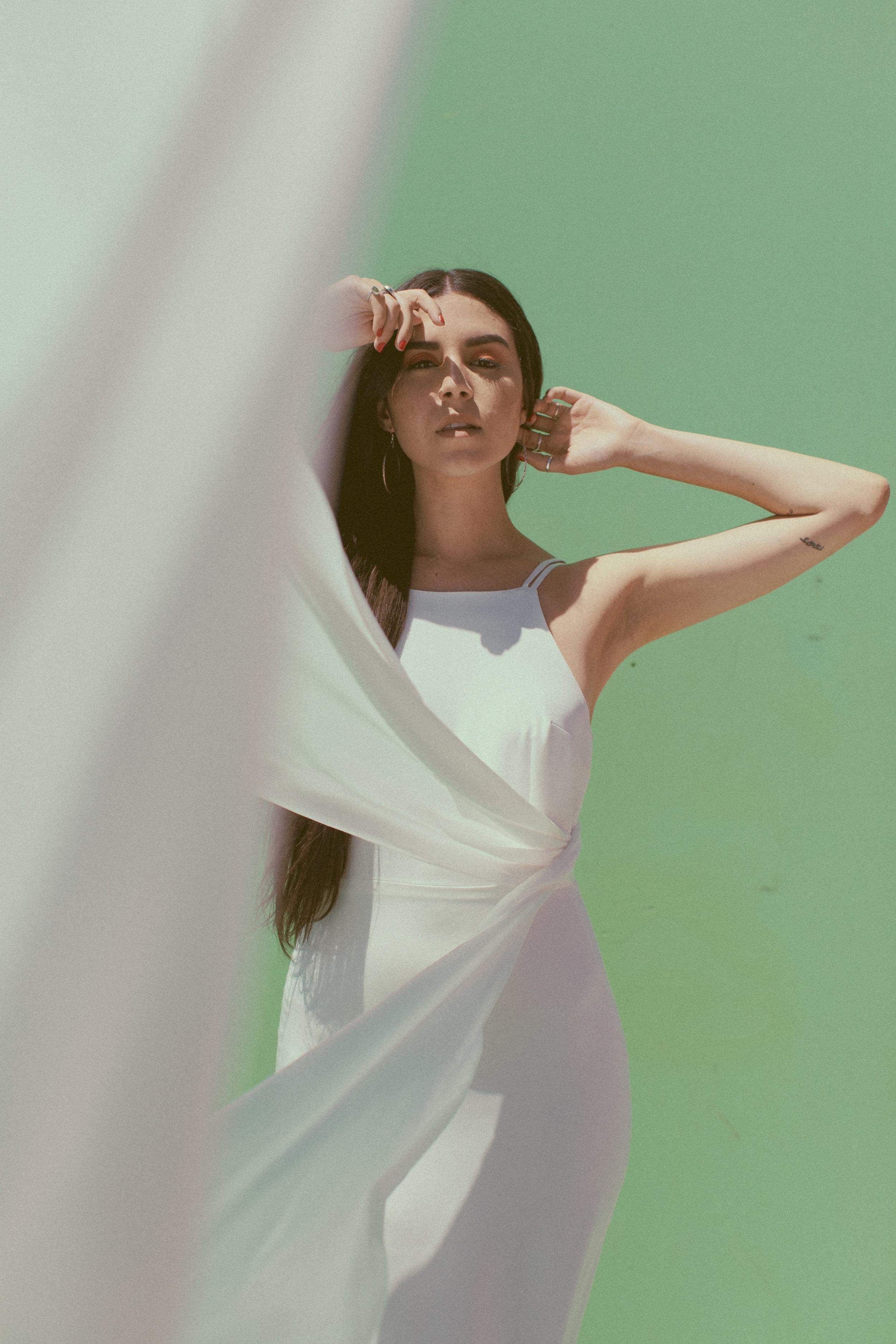 Stella by Chantel Lauren silk crepe wedding gown simple modern western boho bride
