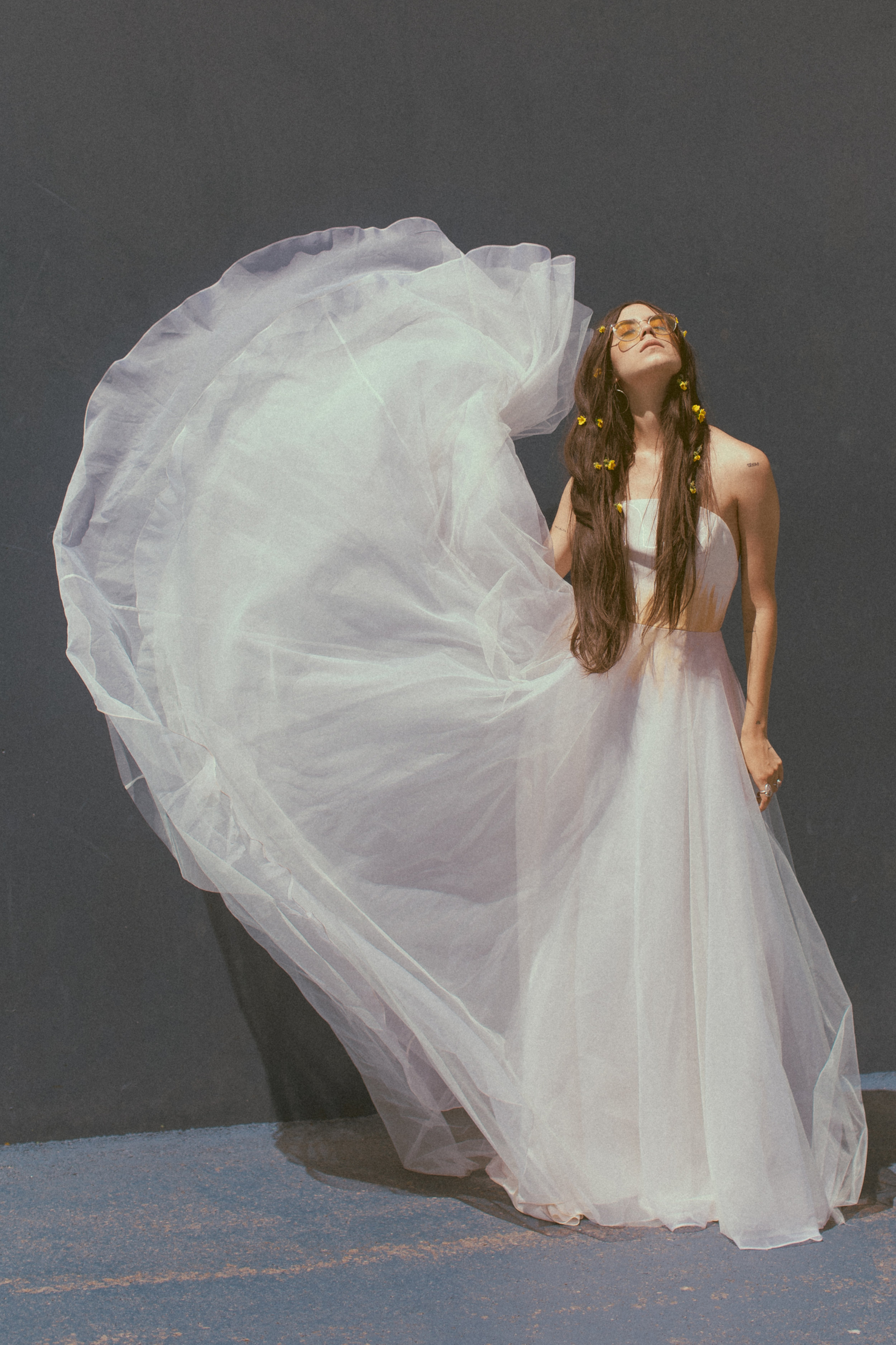 Miley by Chantel Lauren hand painted wedding gown tulle a line boho modern western hippie