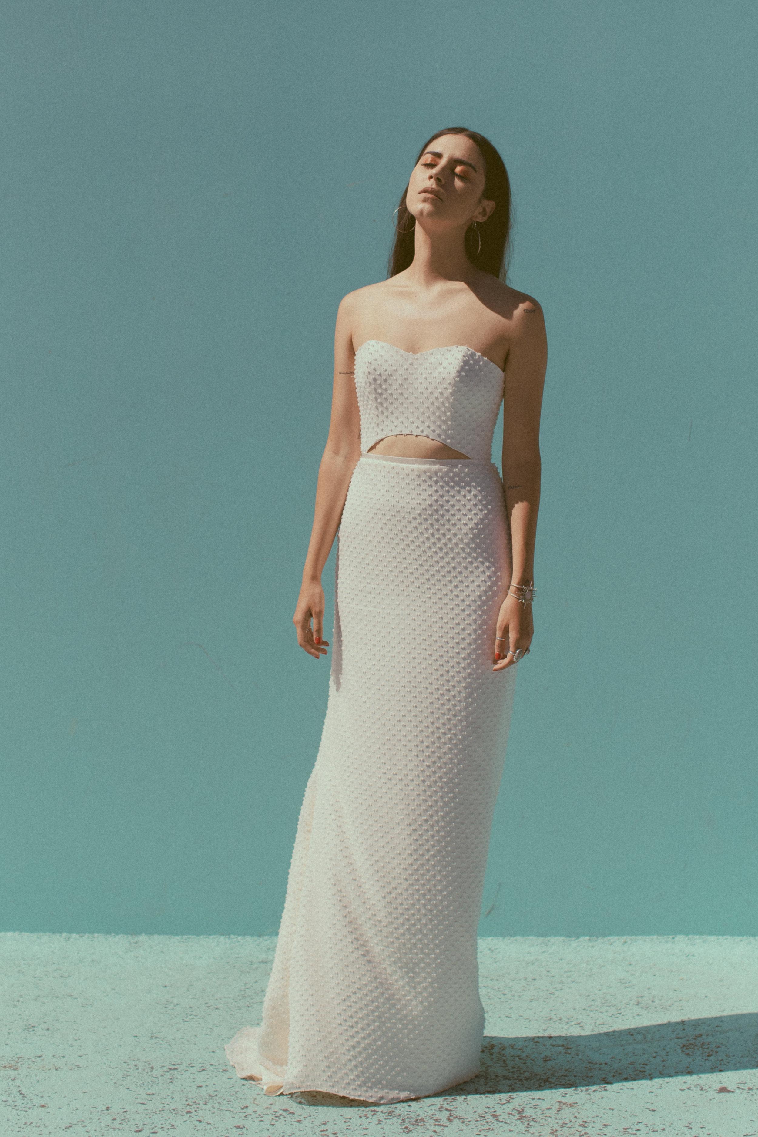 Tammy by Chantel Lauren dot bow chiffon sheath fitted straight western boho modern wedding gown peek a boo bodice