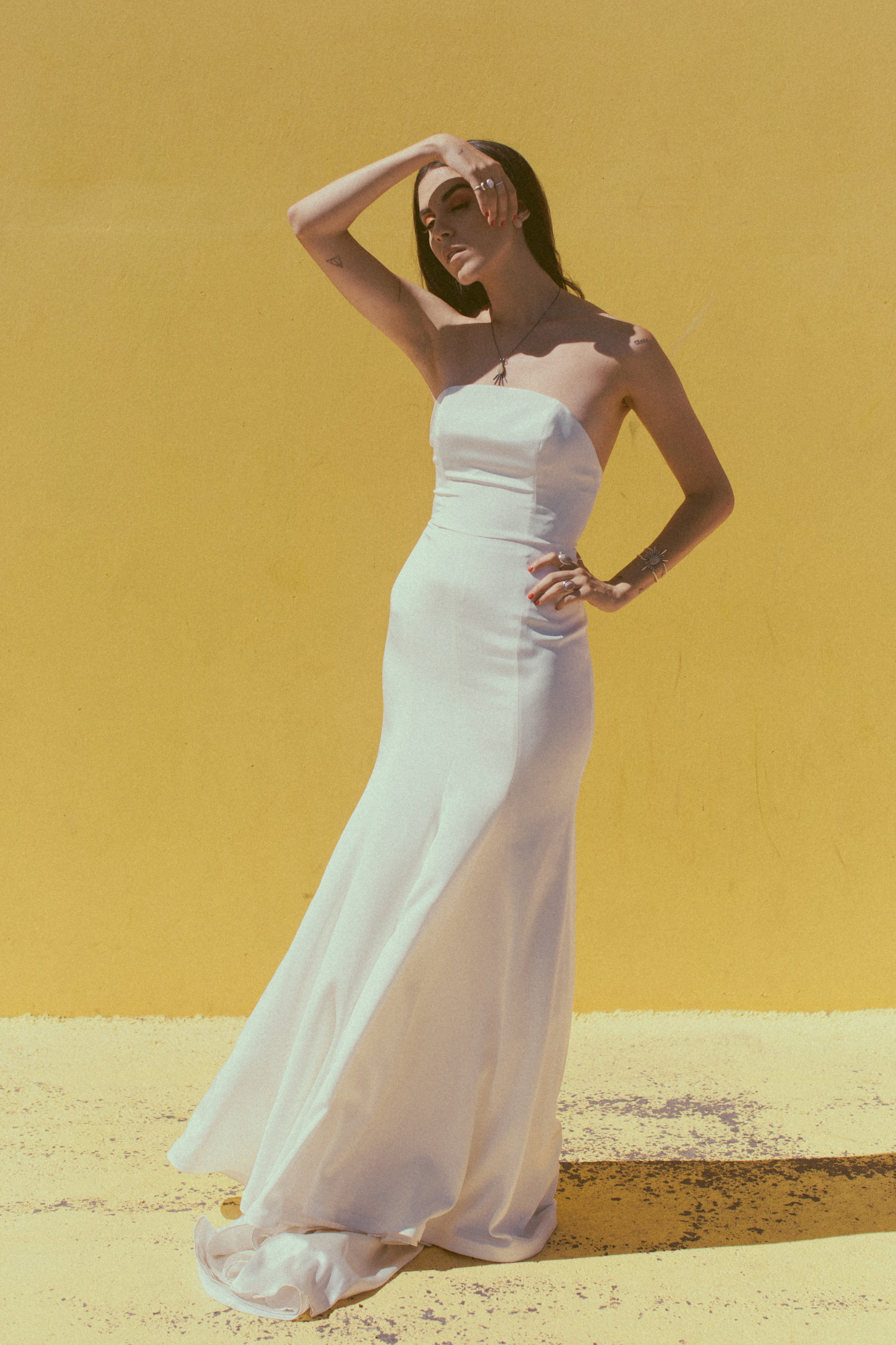 June by Chantel Lauren crepe trumpet fit and flare wedding gown modern boho western bride strapless low back silk