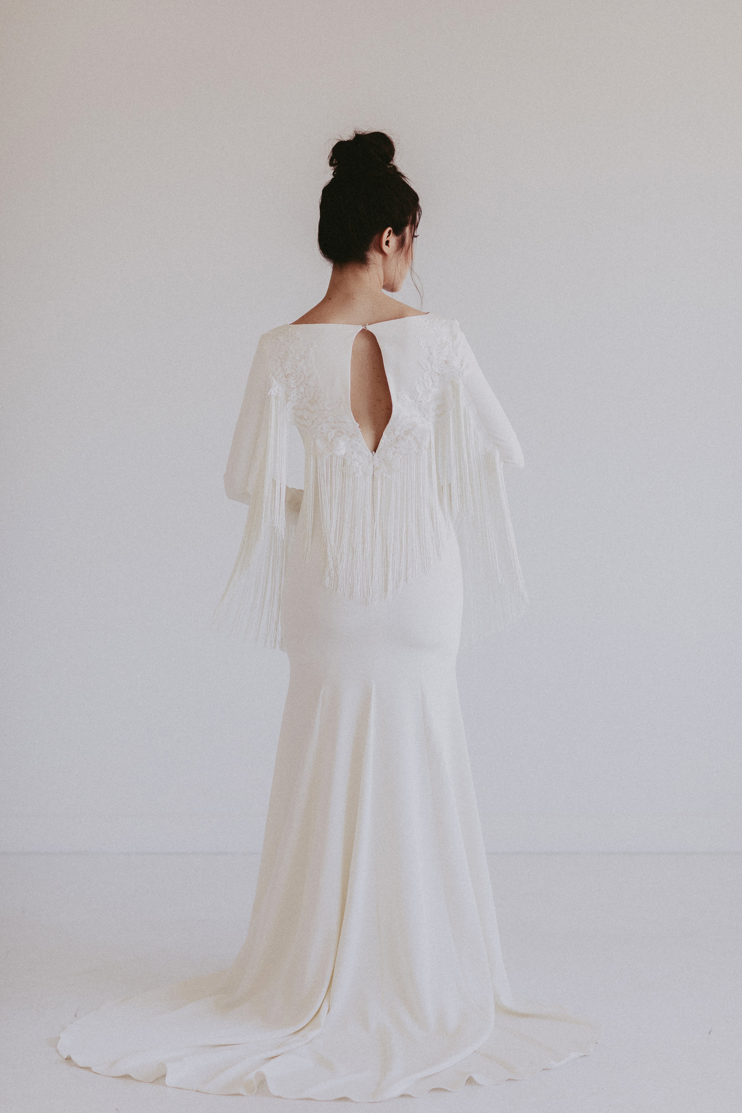 Dallas by Chantel Lauren crepe fringe wedding gown western boho