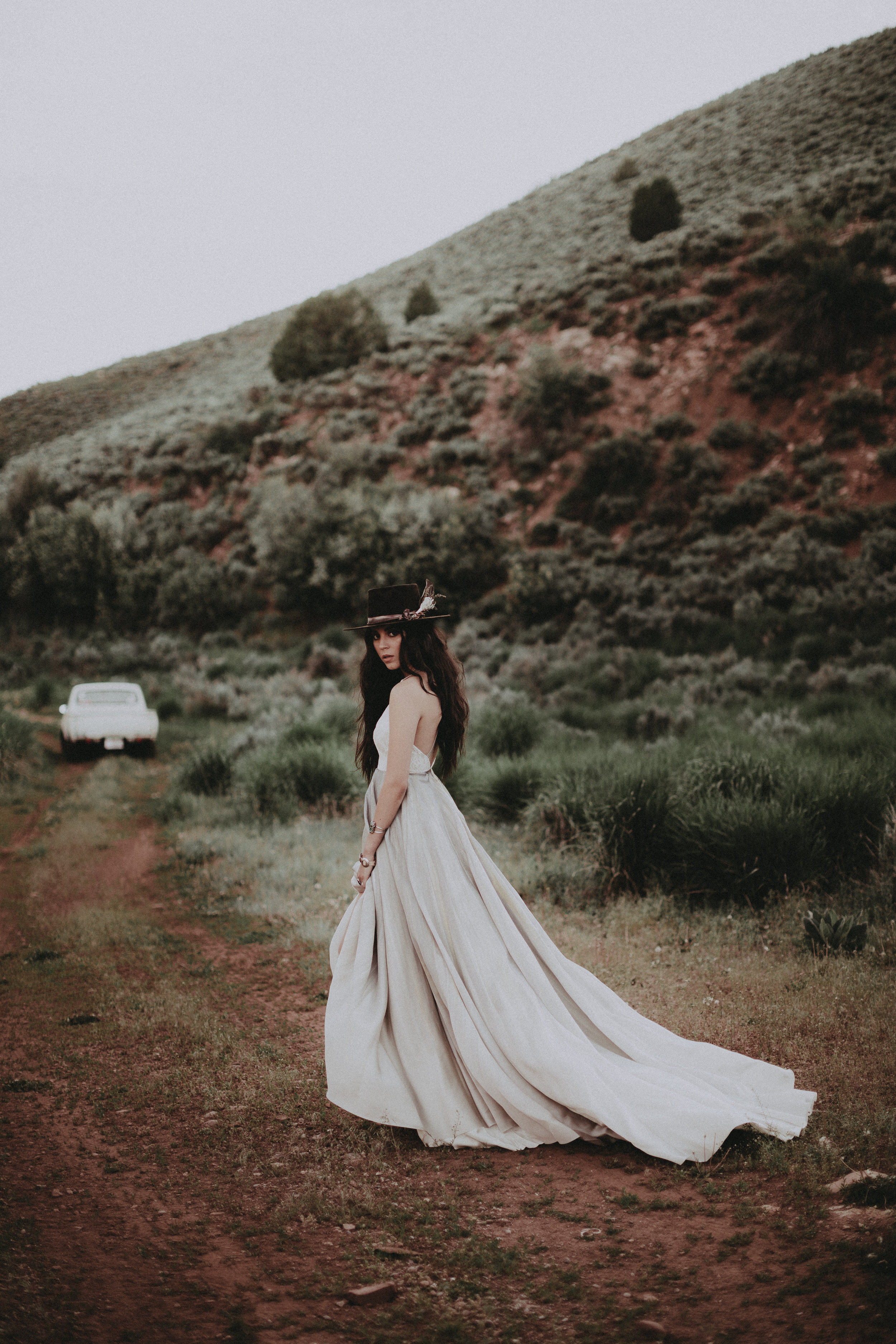 Remington by Chantel lauren hand painted grey wedding gown