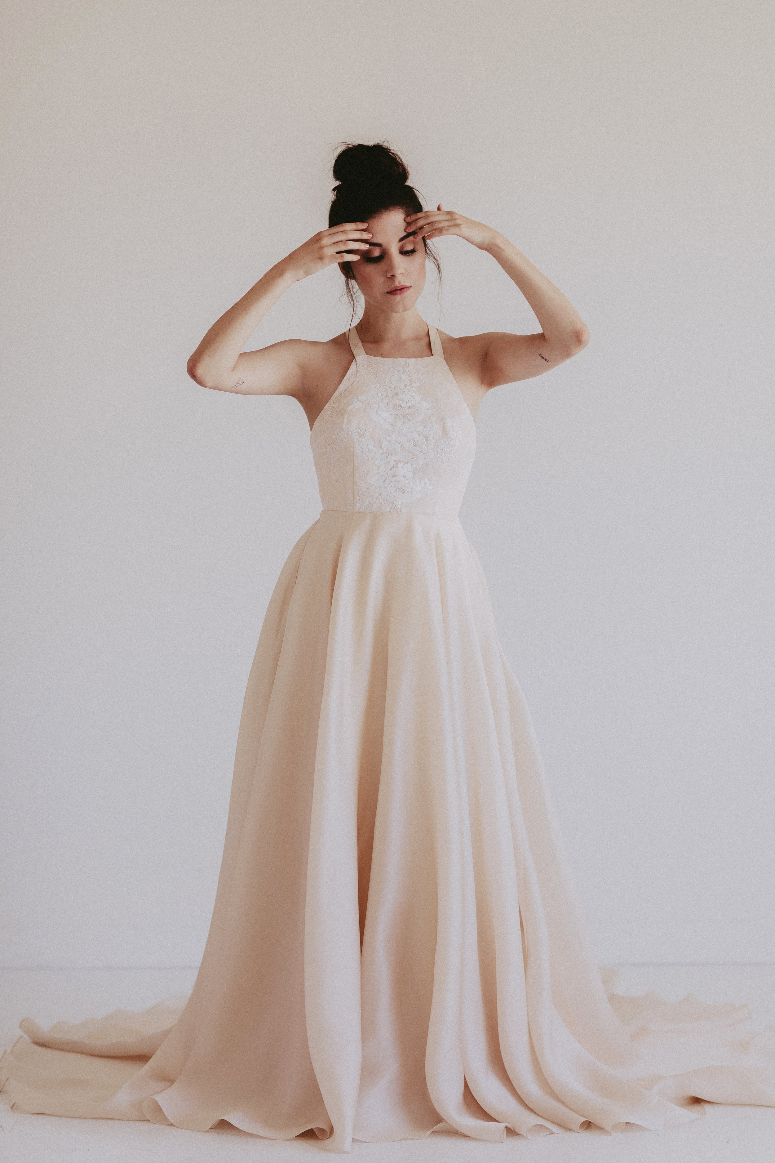 Remington by Chantel lauren hand painted blush wedding gown