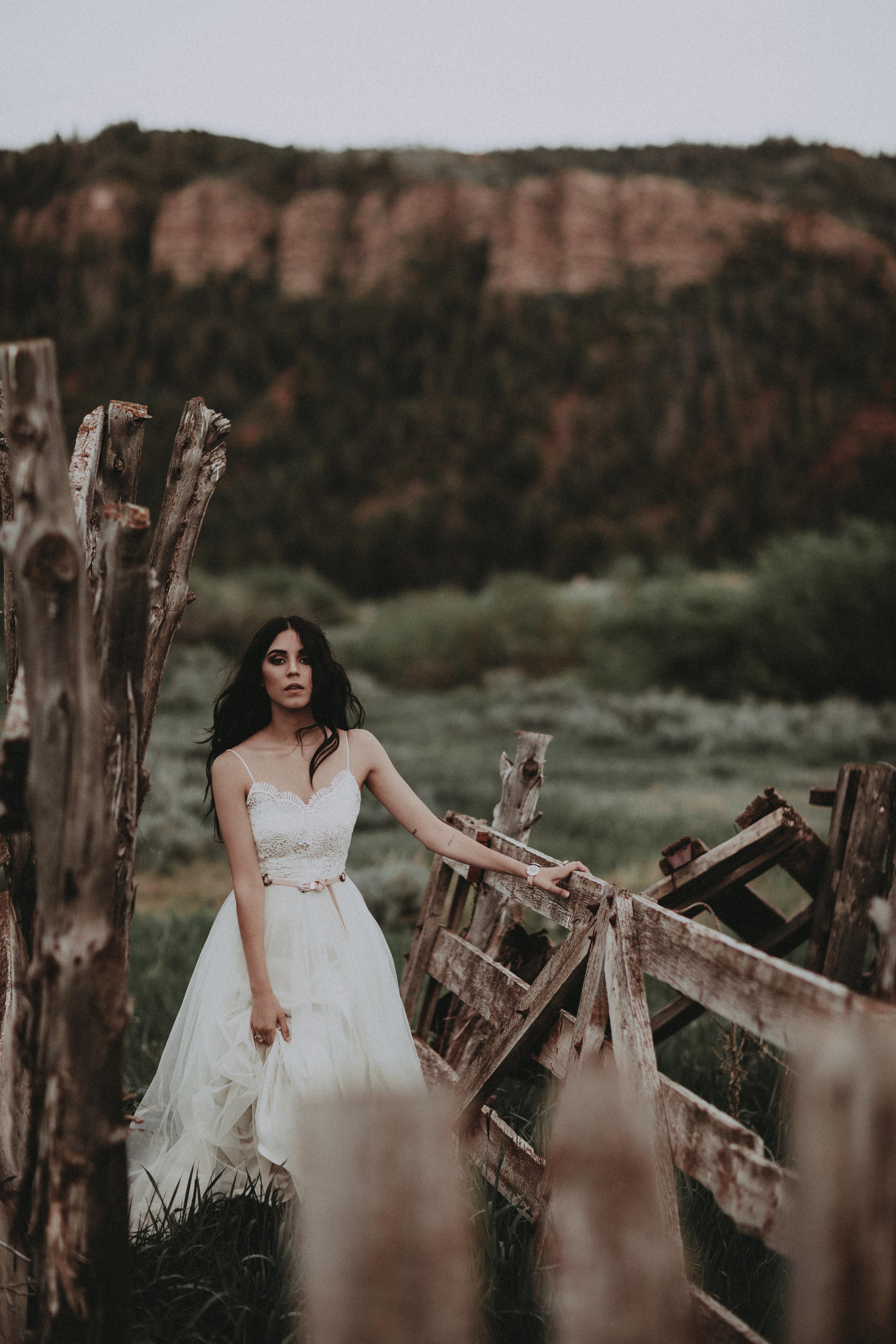 Dixie by Chantel Lauren western tulle a line wedding gown tassel