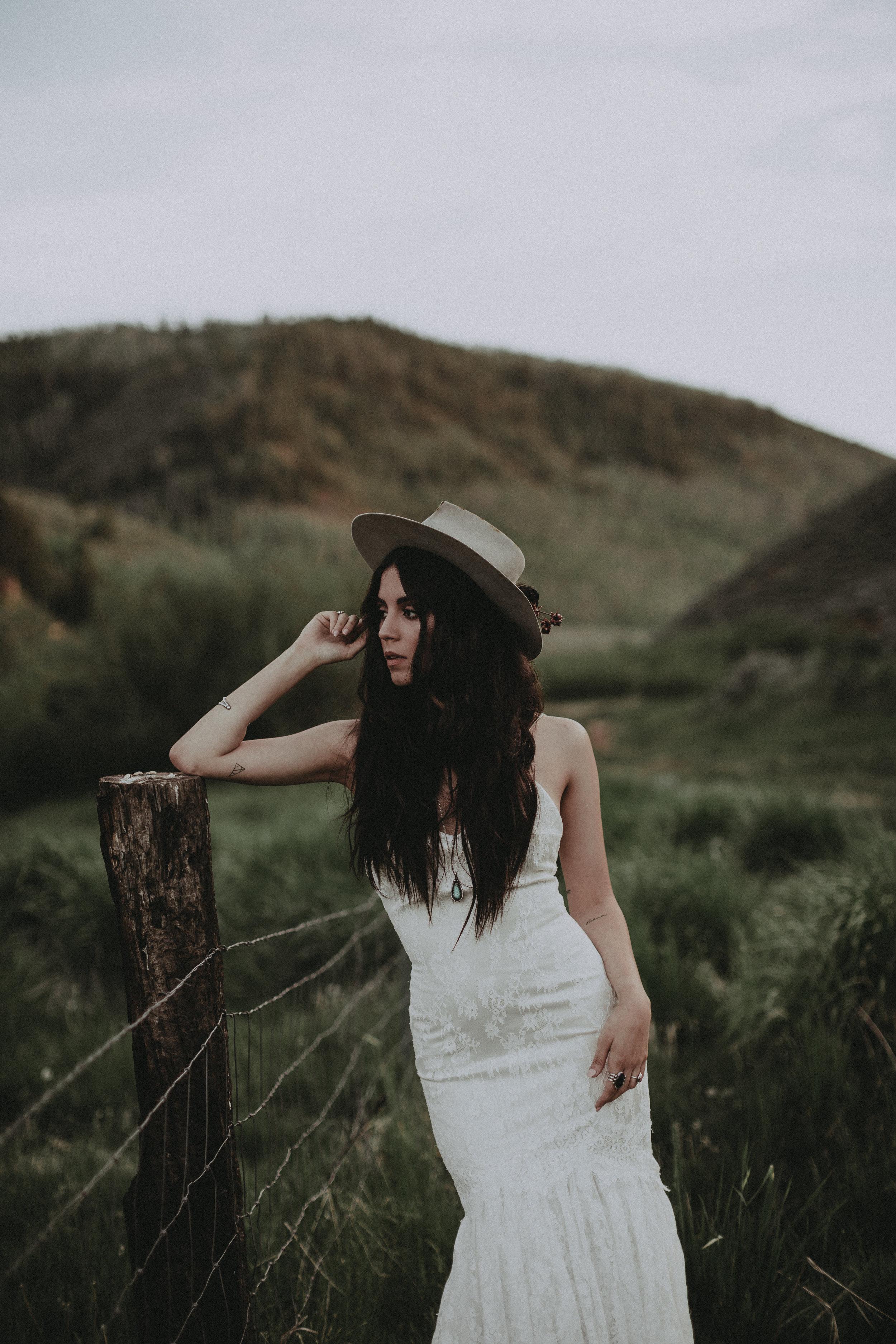 Abilene by Chantel Lauren lace wedding gown fitted boho western bride